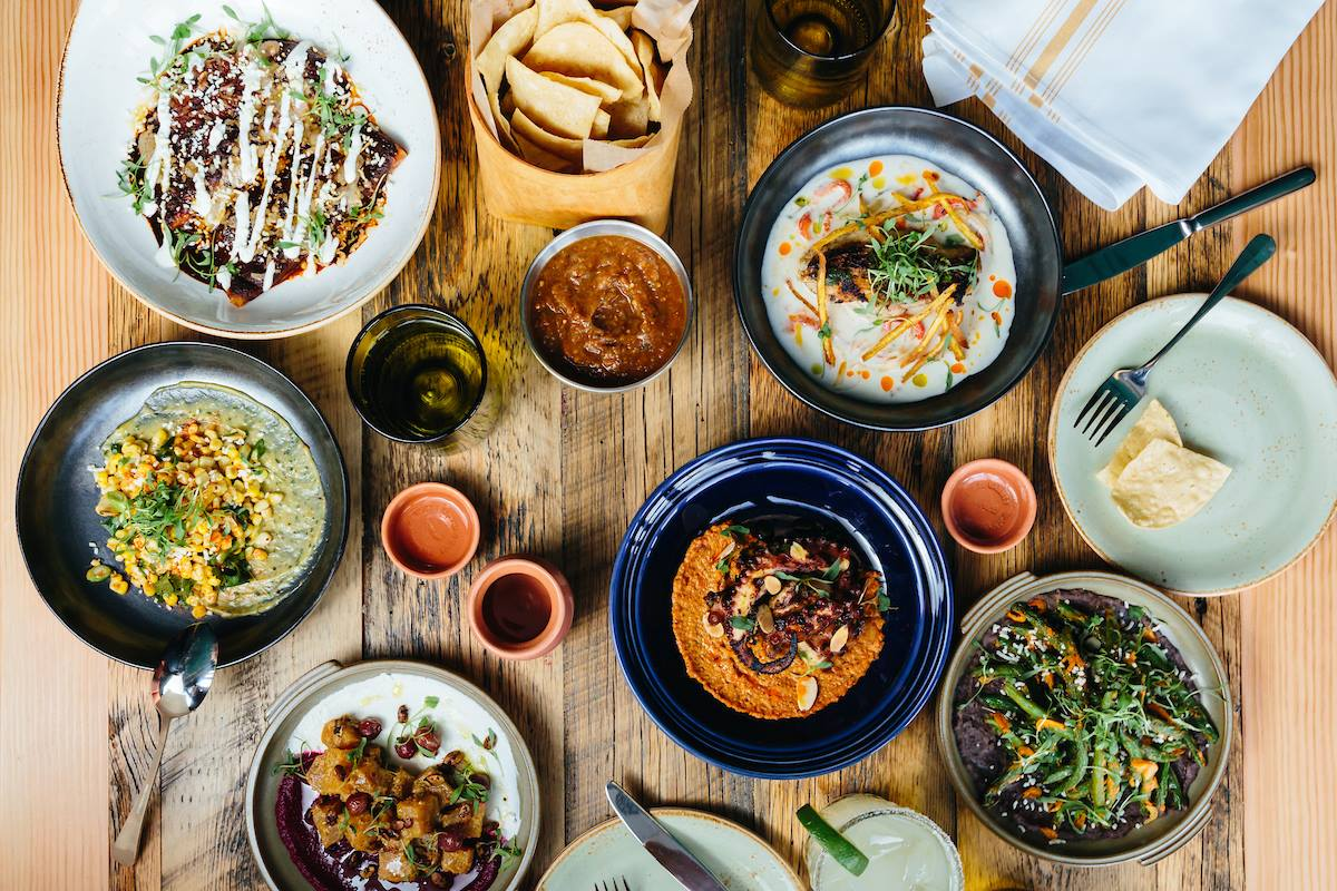 A spread of food at Burro Bar