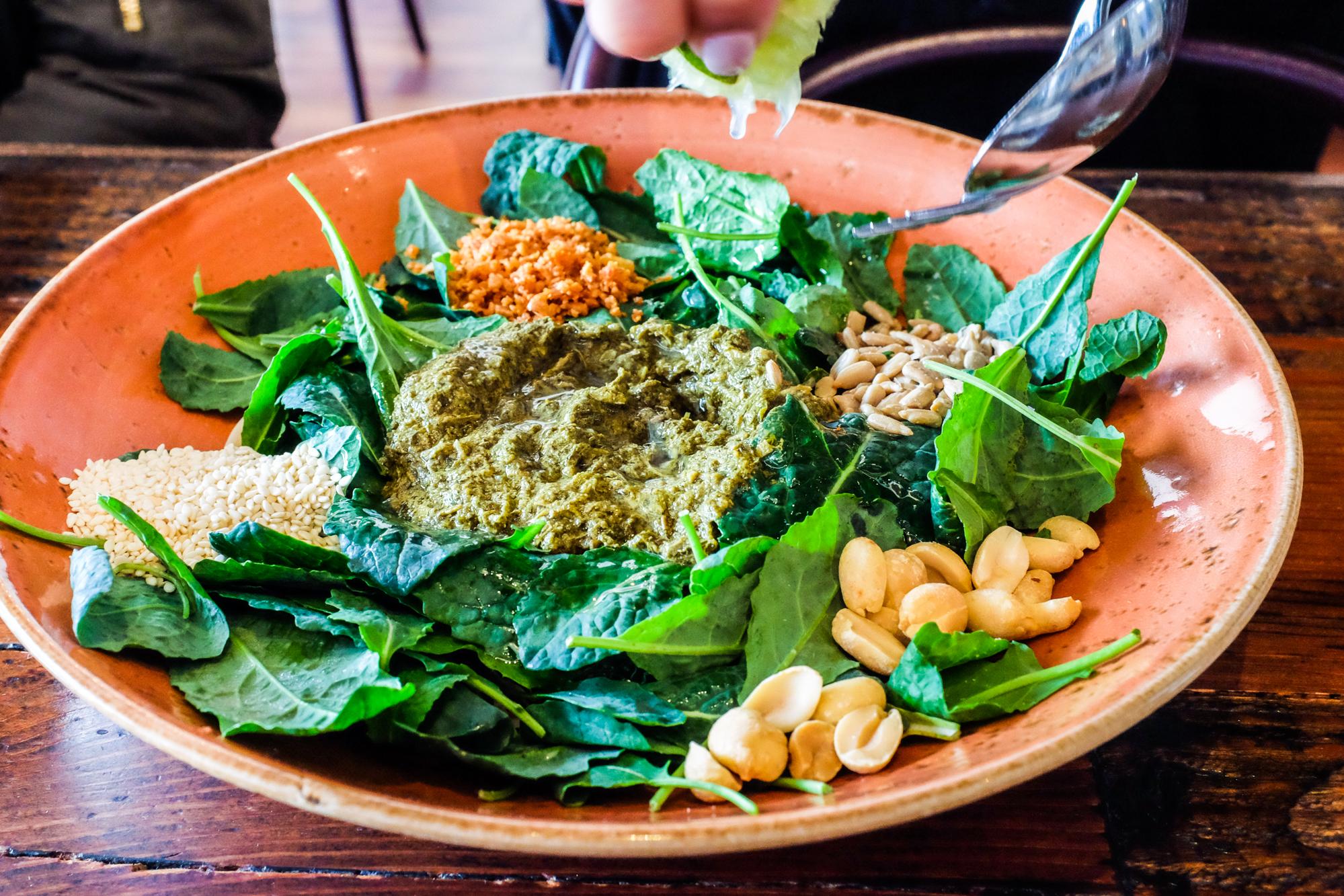 Tea leaf kale salad at Teni East Kitchen in Oakland.