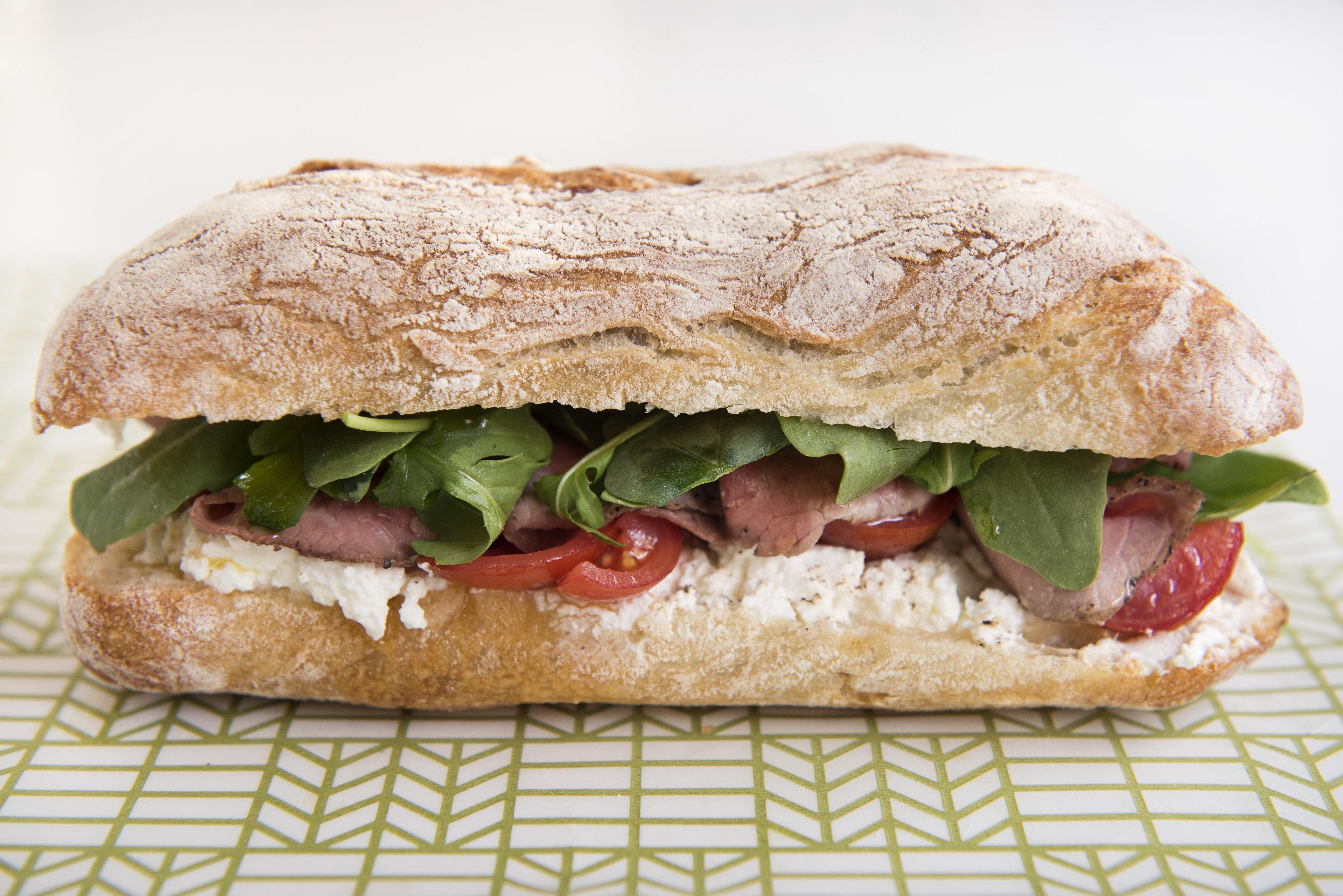 Black pepper roast beef sandwich at Sullivan Street Bakery