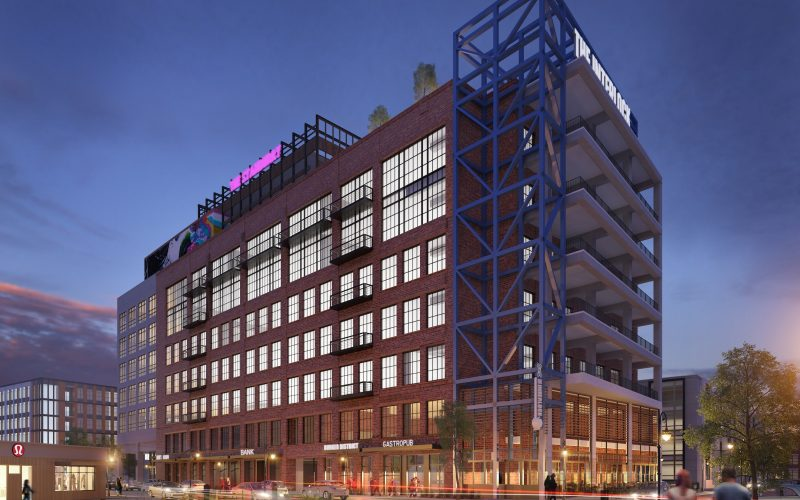 A rendering of one building to rise as part of The Interlock in West Midtown.