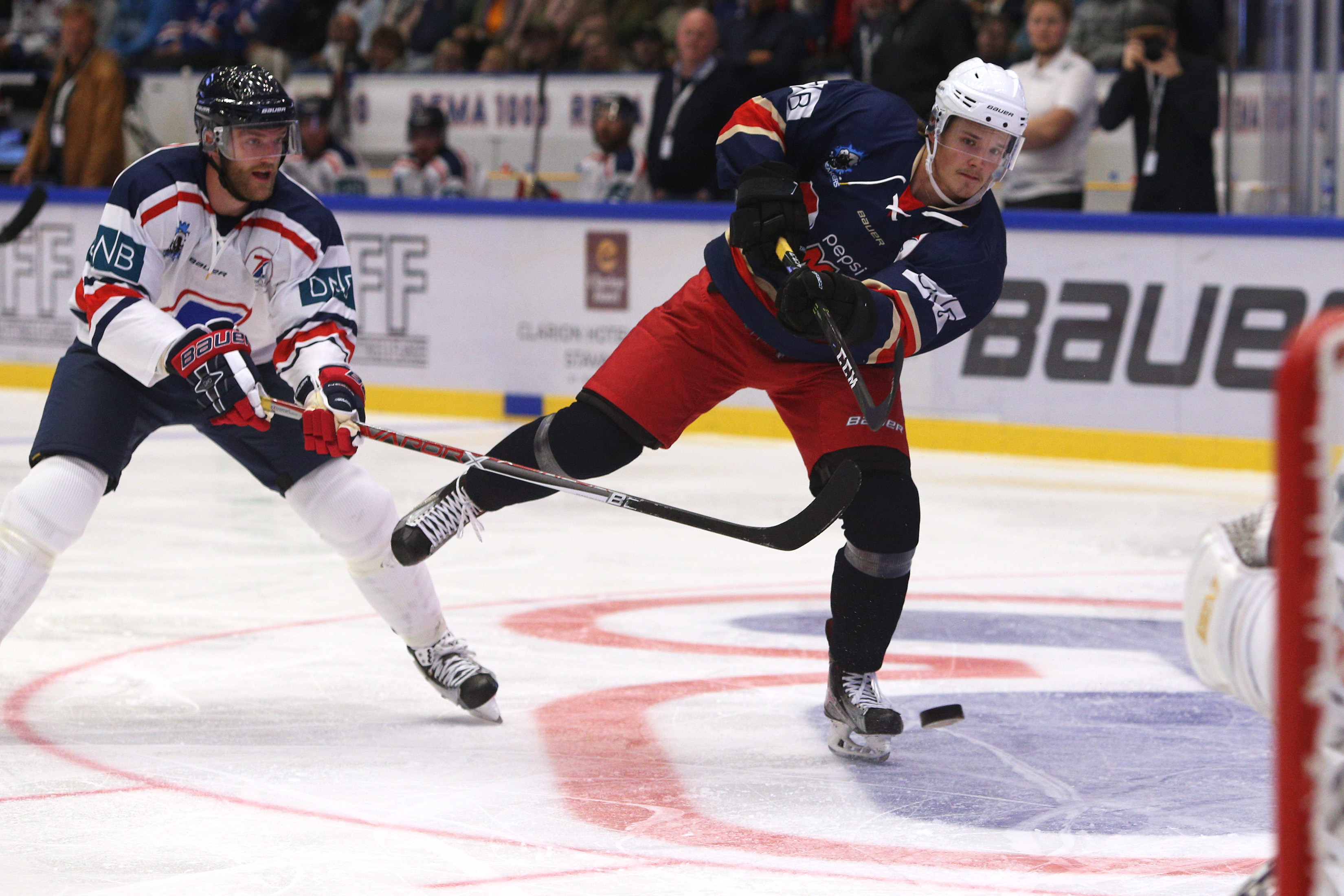 STAVANGER, NORWAY - AUGUST 16: Rudolfs Balcers in action during the Team Zuccarello v Team Icebreakers All Star Game at the DNB Arena on August 16, 2017 in Stavanger, Norway.