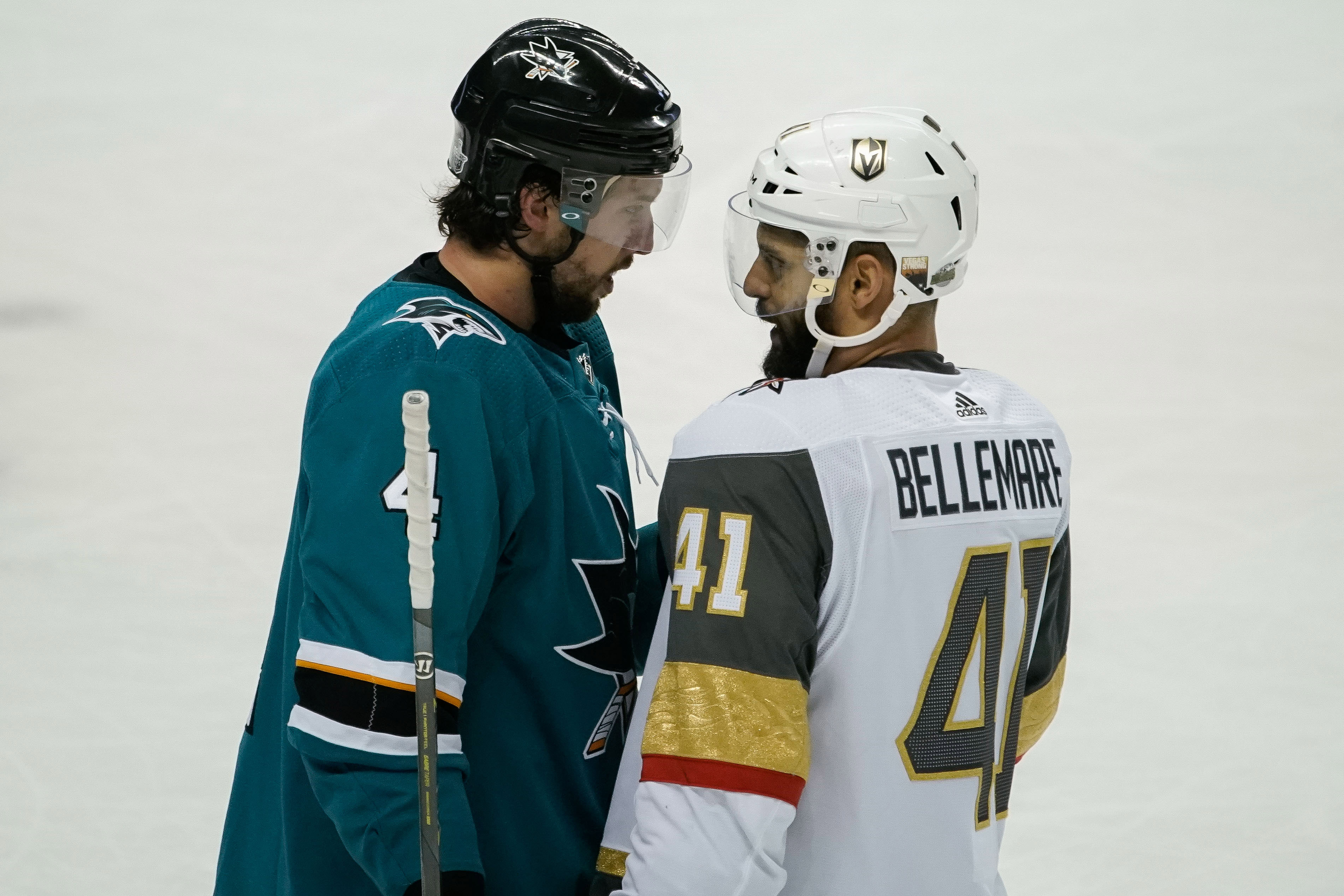 May 2, 2018; San Jose, CA, USA; San Jose Sharks defenseman Brenden Dillon (4) and Vegas Golden Knights left wing Pierre-Edouard Bellemare (41) confront each other during the third period in game four of the third round of the 2018 Stanley Cup Playoffs at