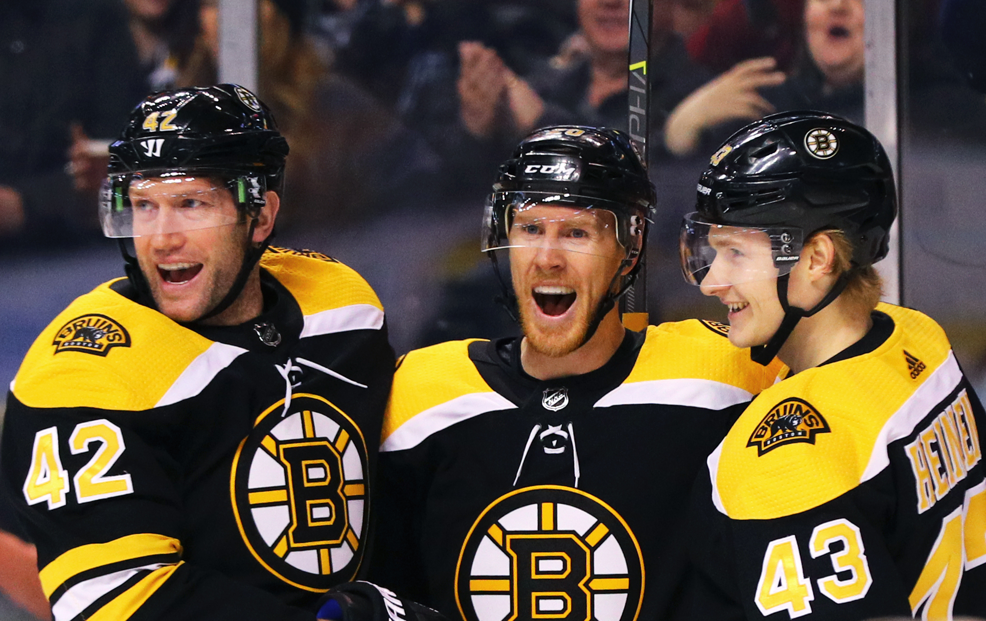 There weren't a lot of smiles for the Bruins third line during the playoffs