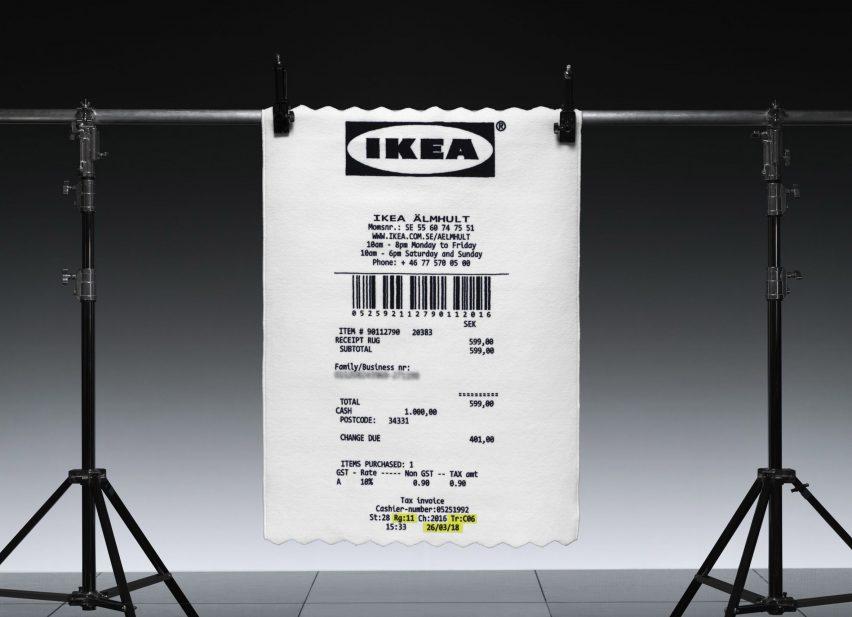 Ikea x Virgil Abloh receipt rug