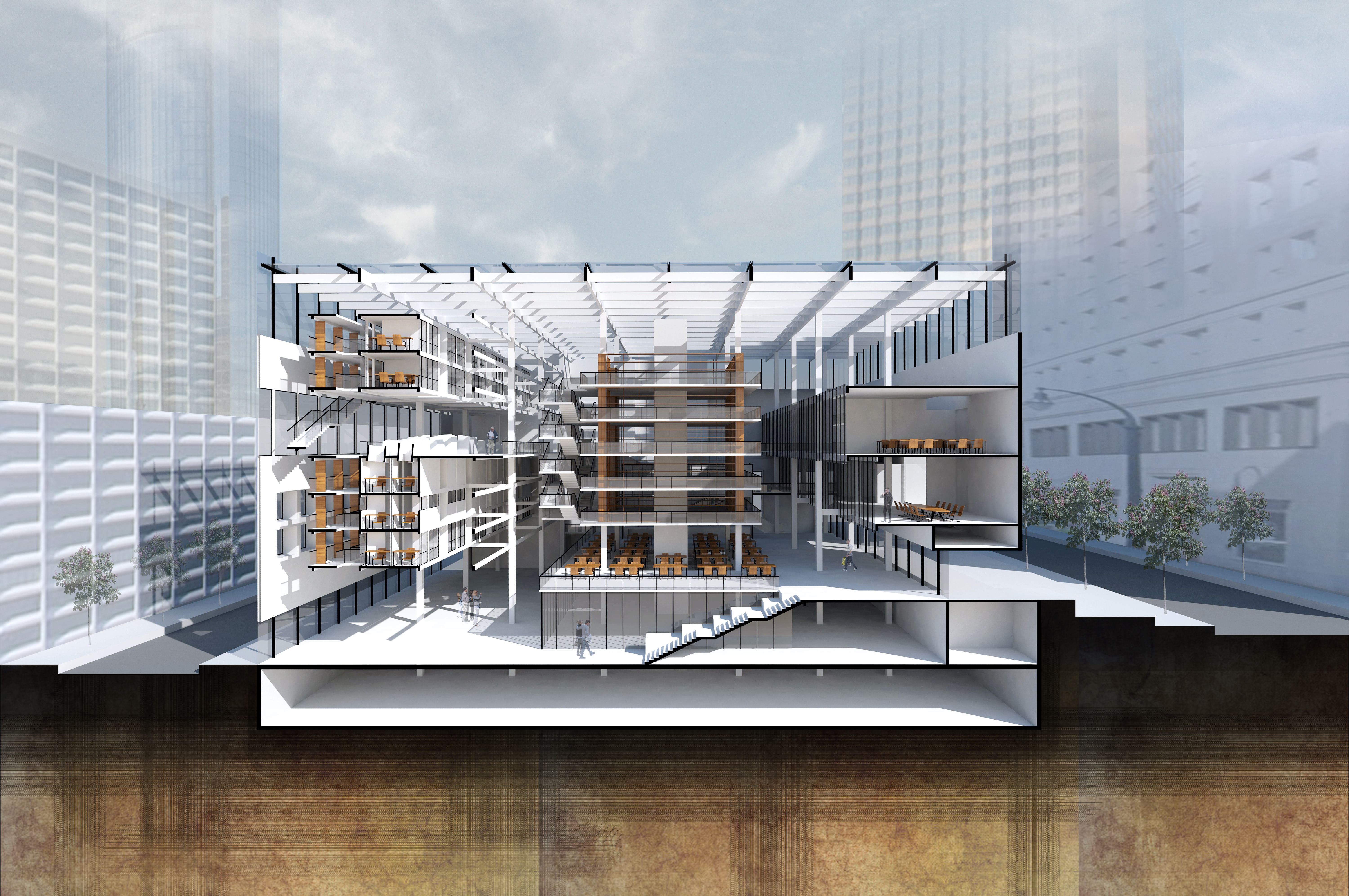 A rendering of a new library design.