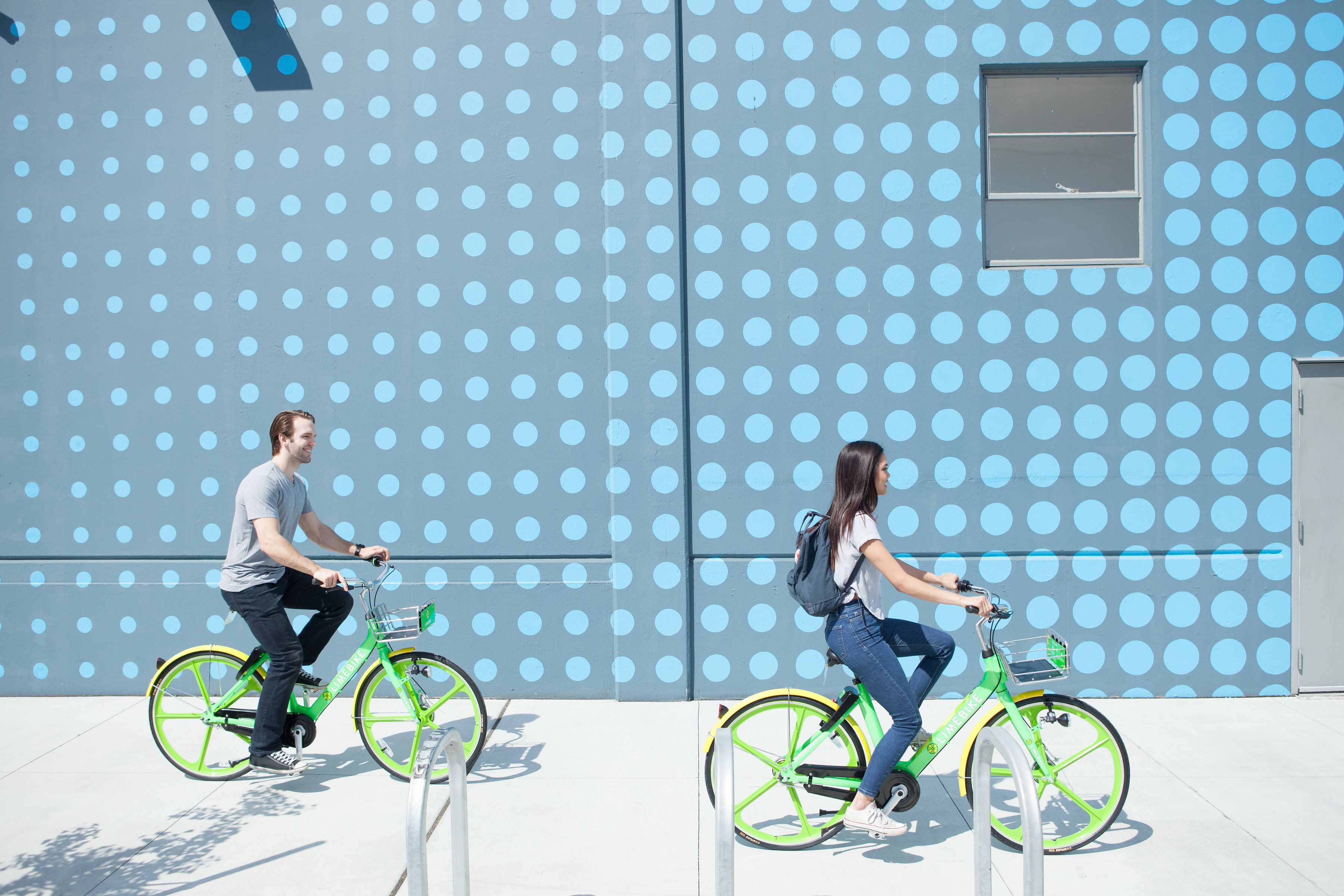 A photo of the dockless Lime Bike system.