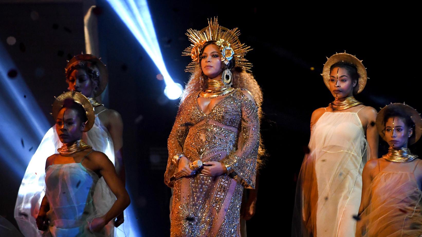 Beyoncé in a look inspired by the Yoruba goddes Oshun.
