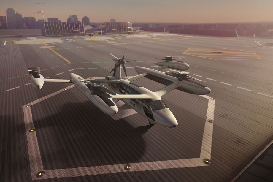 Rendering of a four-engine flying vehicle
