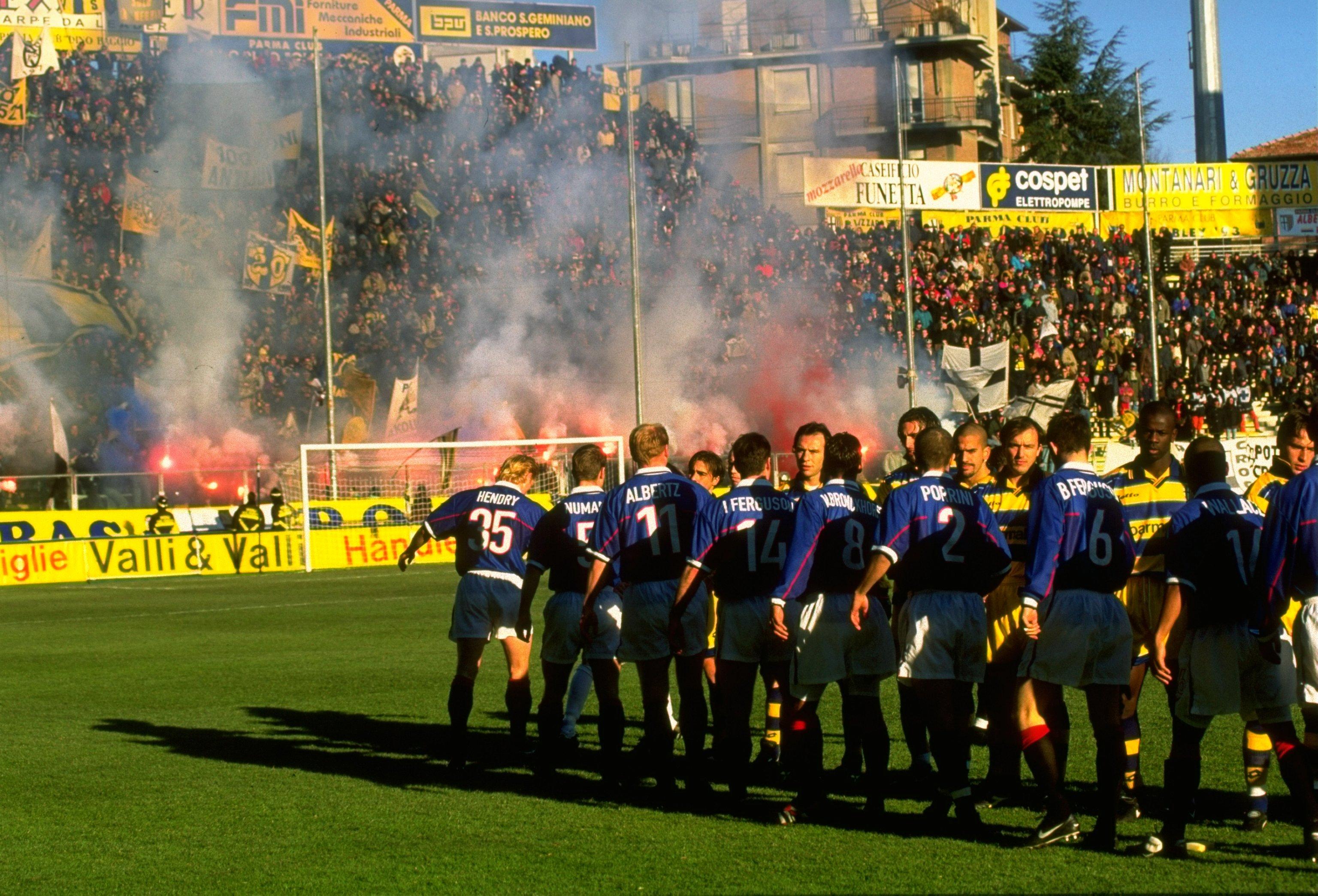 Parma v Rangers The teams shake hands