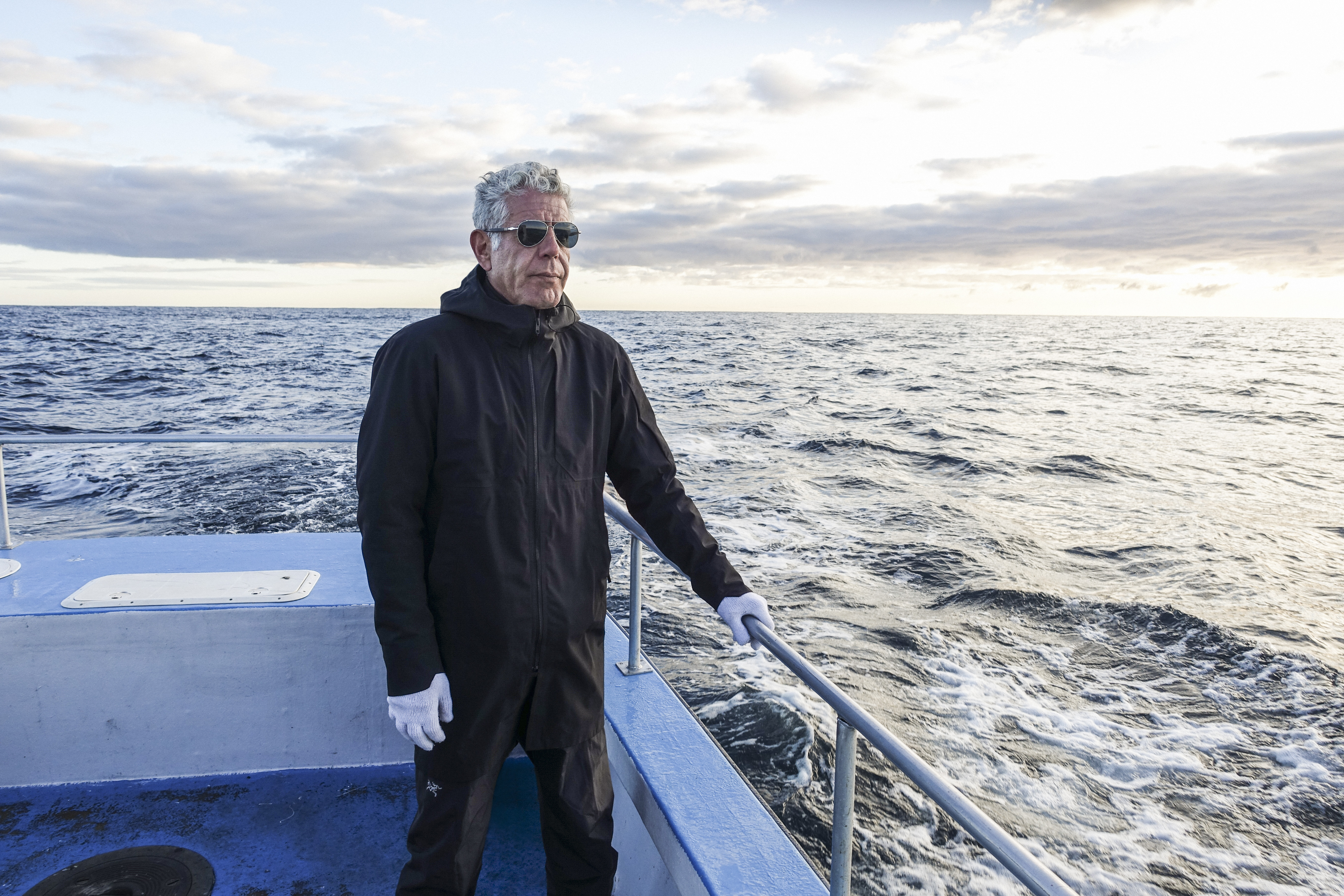 Anthony Bourdain on a boat off the coast of Newfoundland