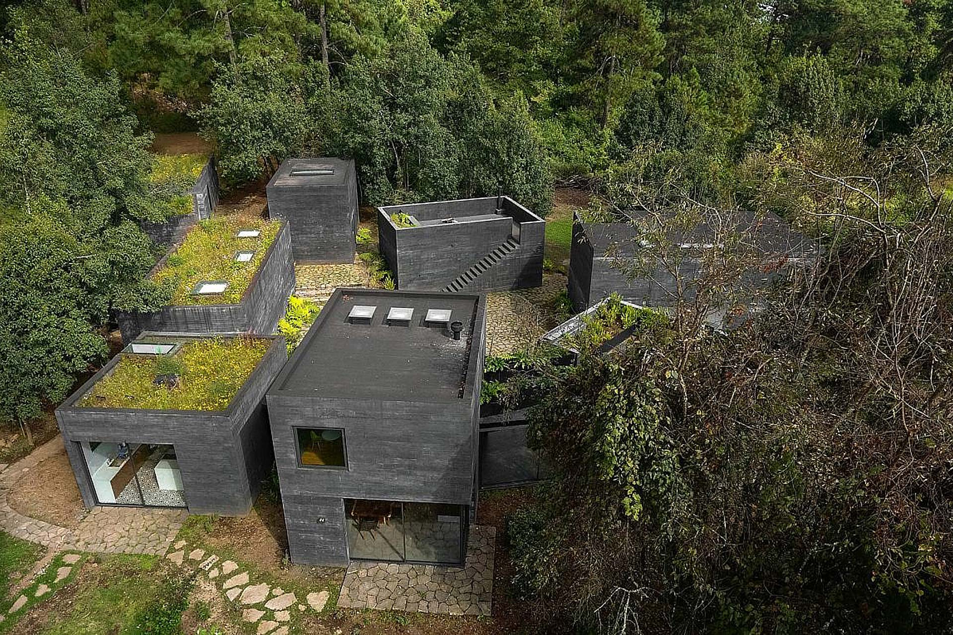 Aerial shot of exterior of house