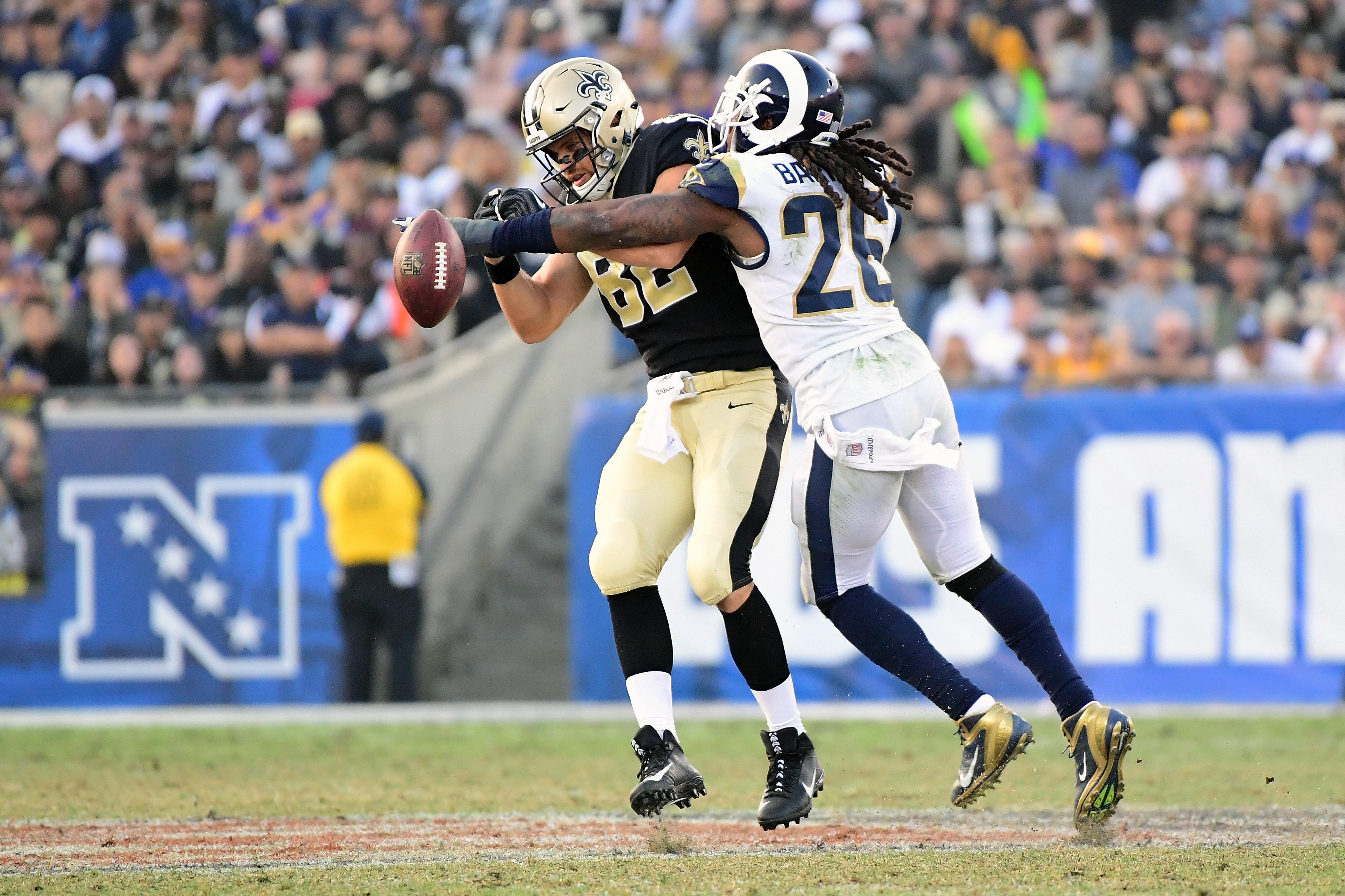 Los Angeles Rams ILB Mark Barron breaks up a pass to New Orleans Saints TE Coby Fleener in Week 12, November 26, 2017.