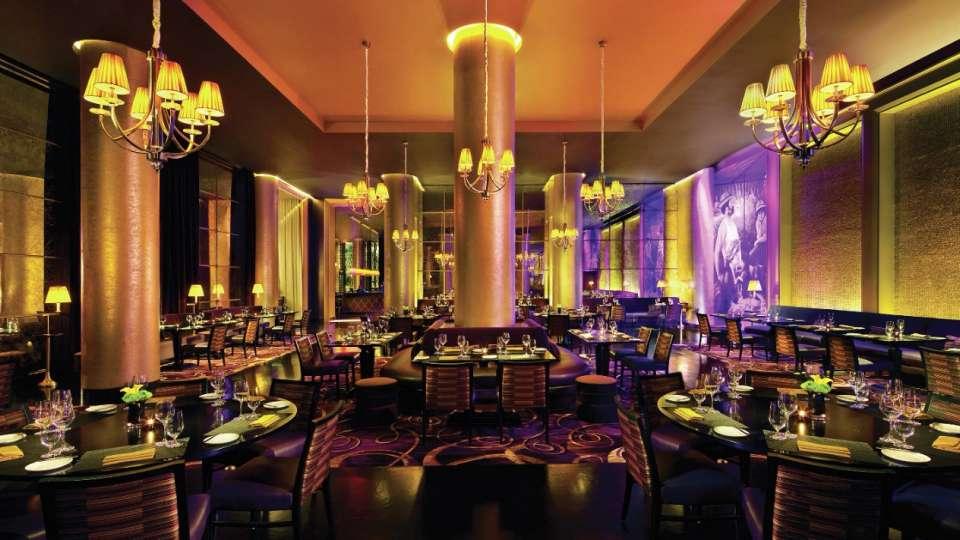 Dimly lit restaurant interior