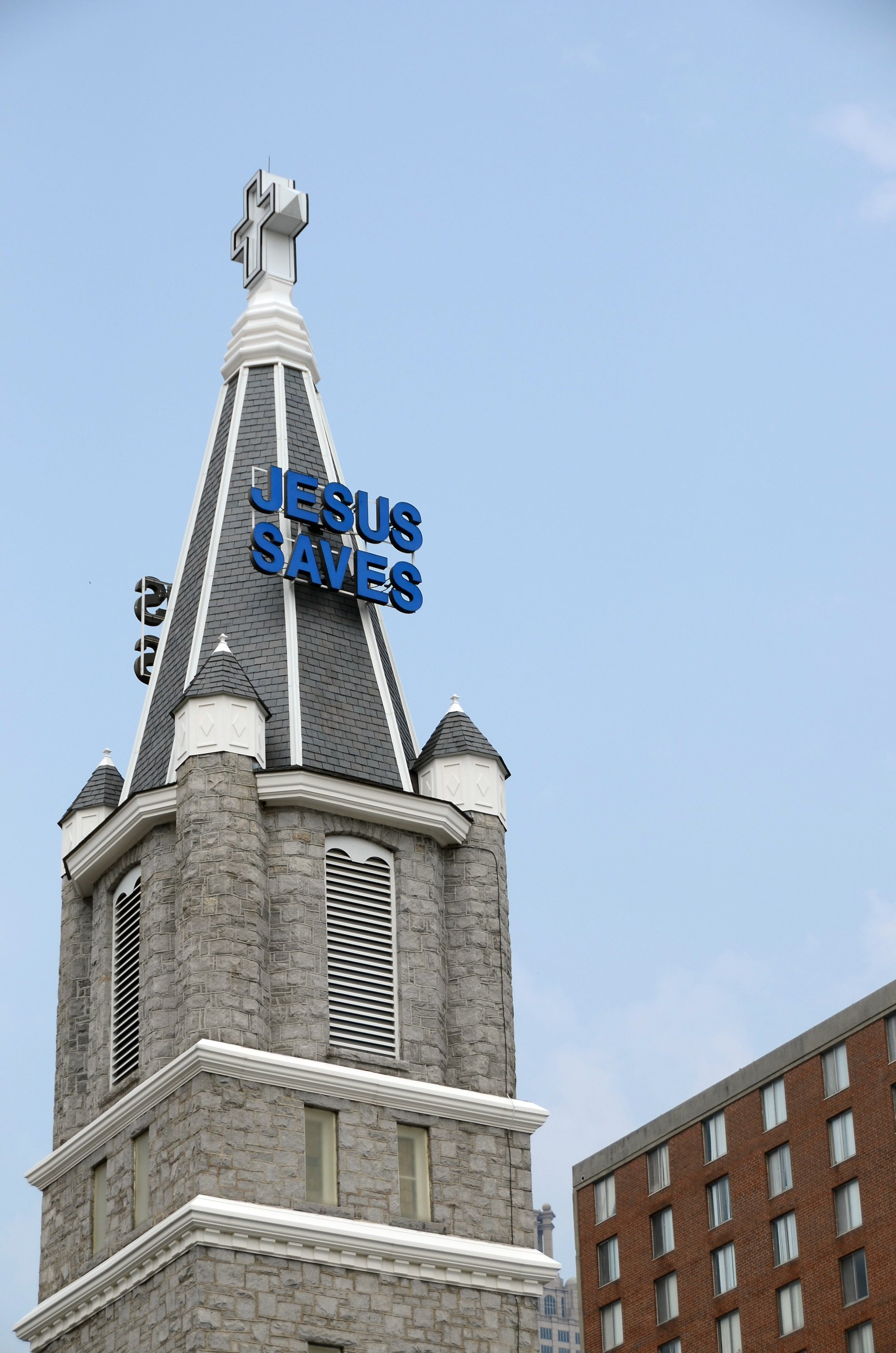 A photo of the Big Bethel AME church steeple.