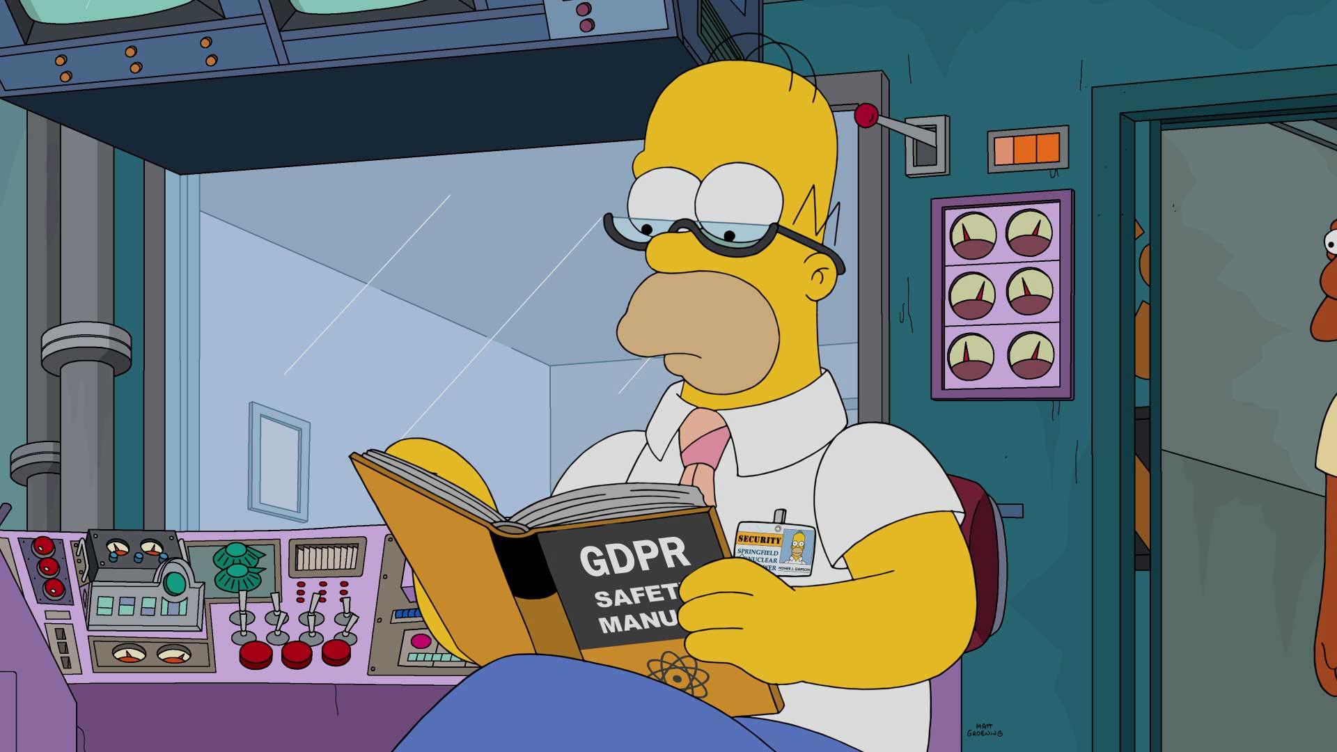 """Homer Simpson sits reading a book titled """"GDPR Safety Manual."""""""