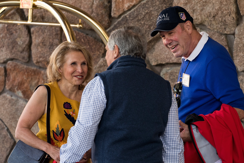 Viacom and CBS Vice Chairman Shari Redstone, CBS CEO Leslie Moonves and former Disney chairman Michael Eisner