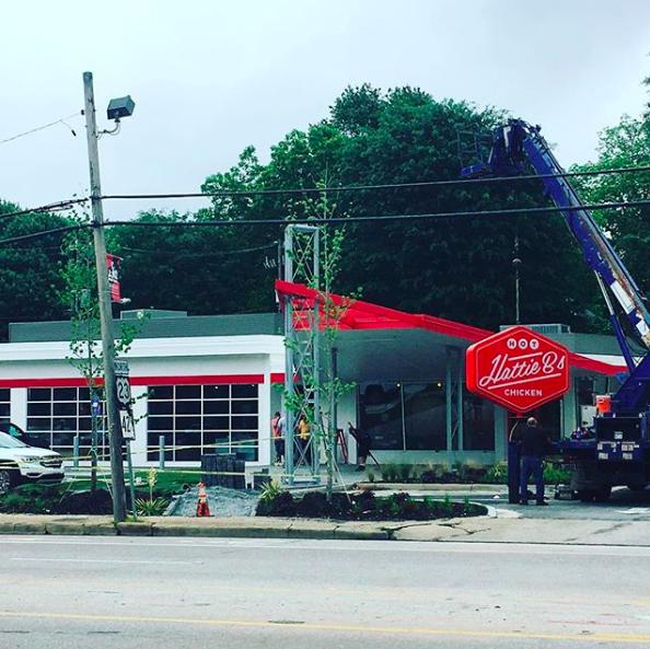 Hattie B's Hot Chicken's new sign installed Thursday morning on Moreland Avenue
