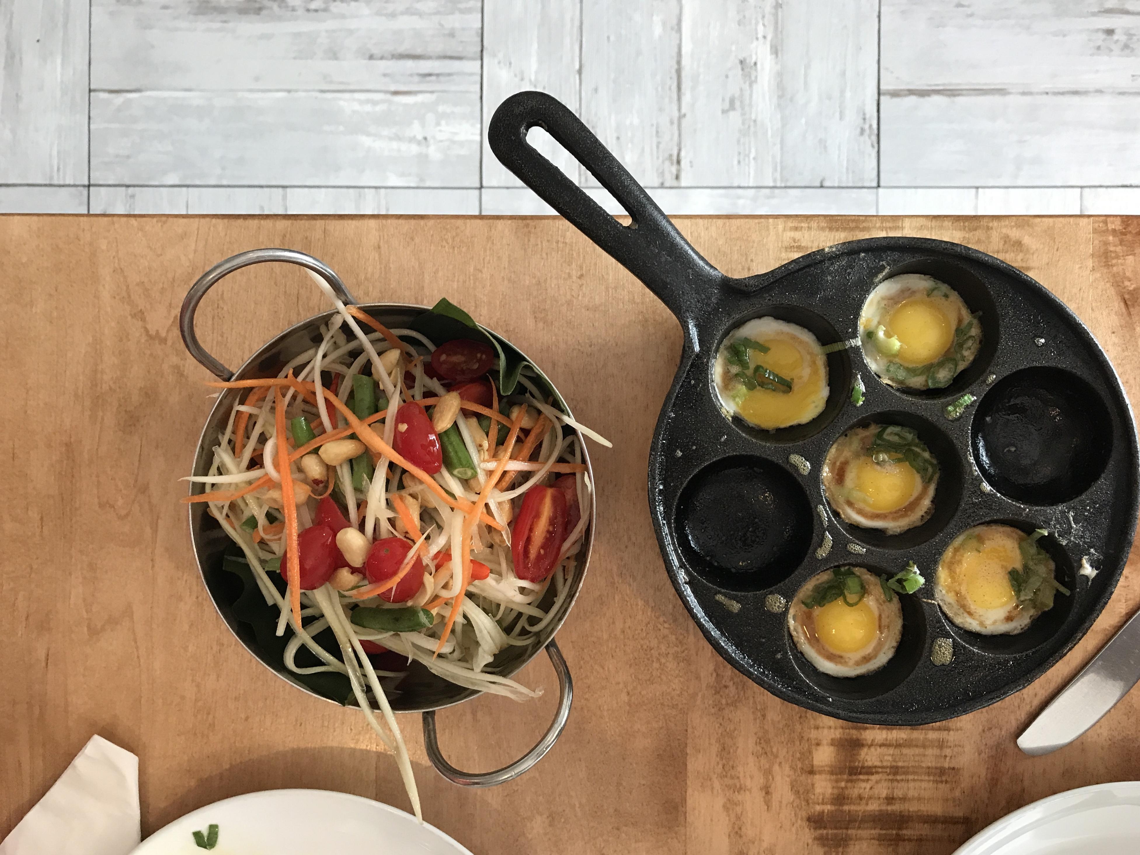 quail eggs papaya salad cha yen
