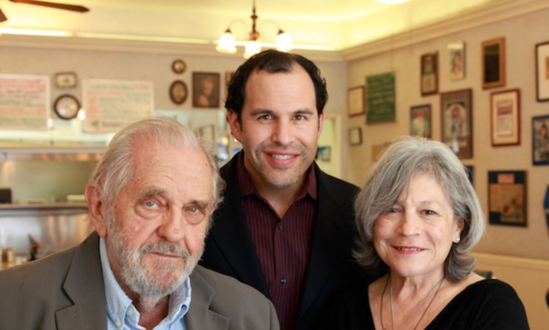 Robert Jacoby, co-founder of John O'Groats (left) with Paul Tyler and Angelica Jacoby