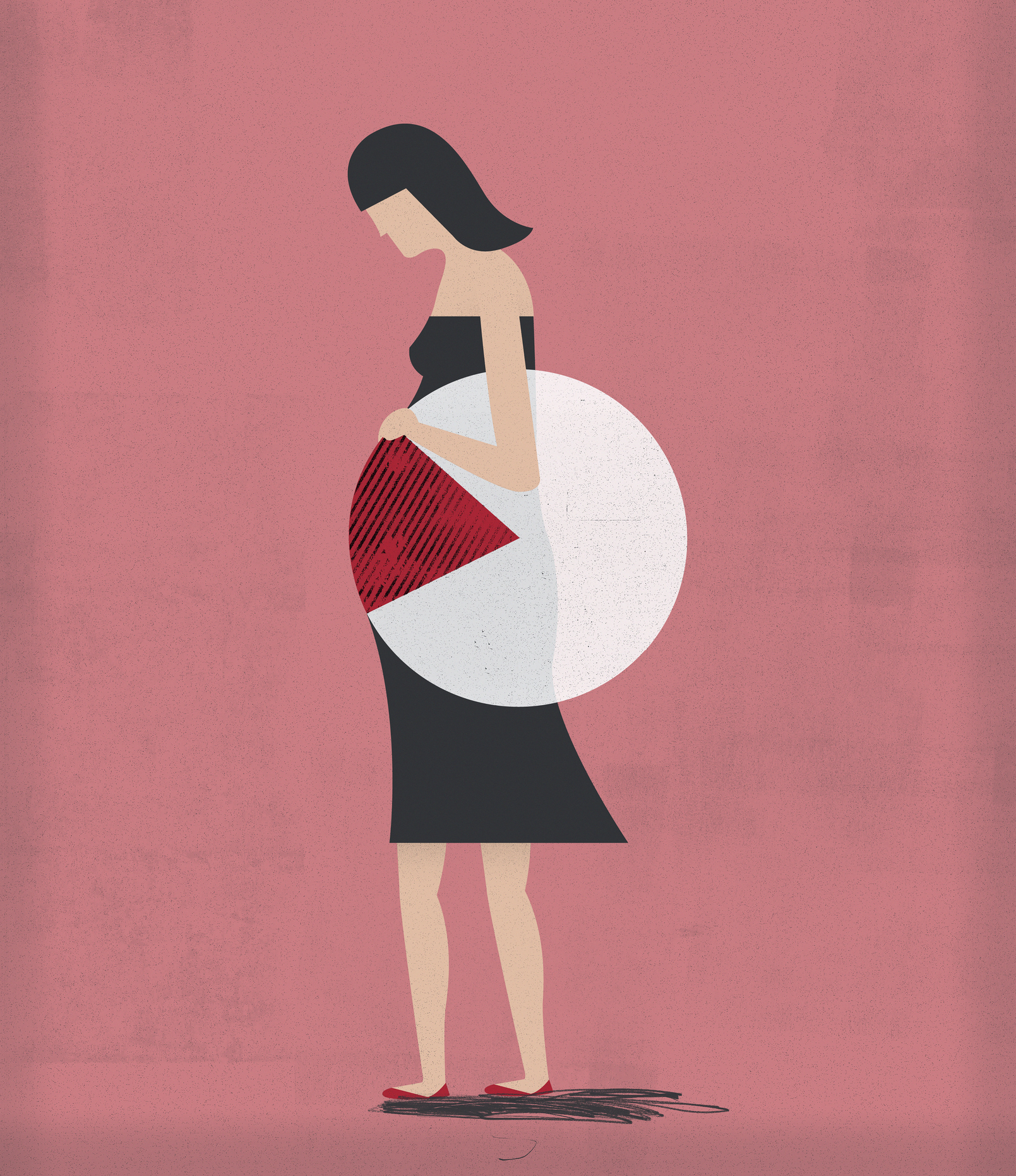 An illustration of a pregnant woman with a pie chart over her belly.