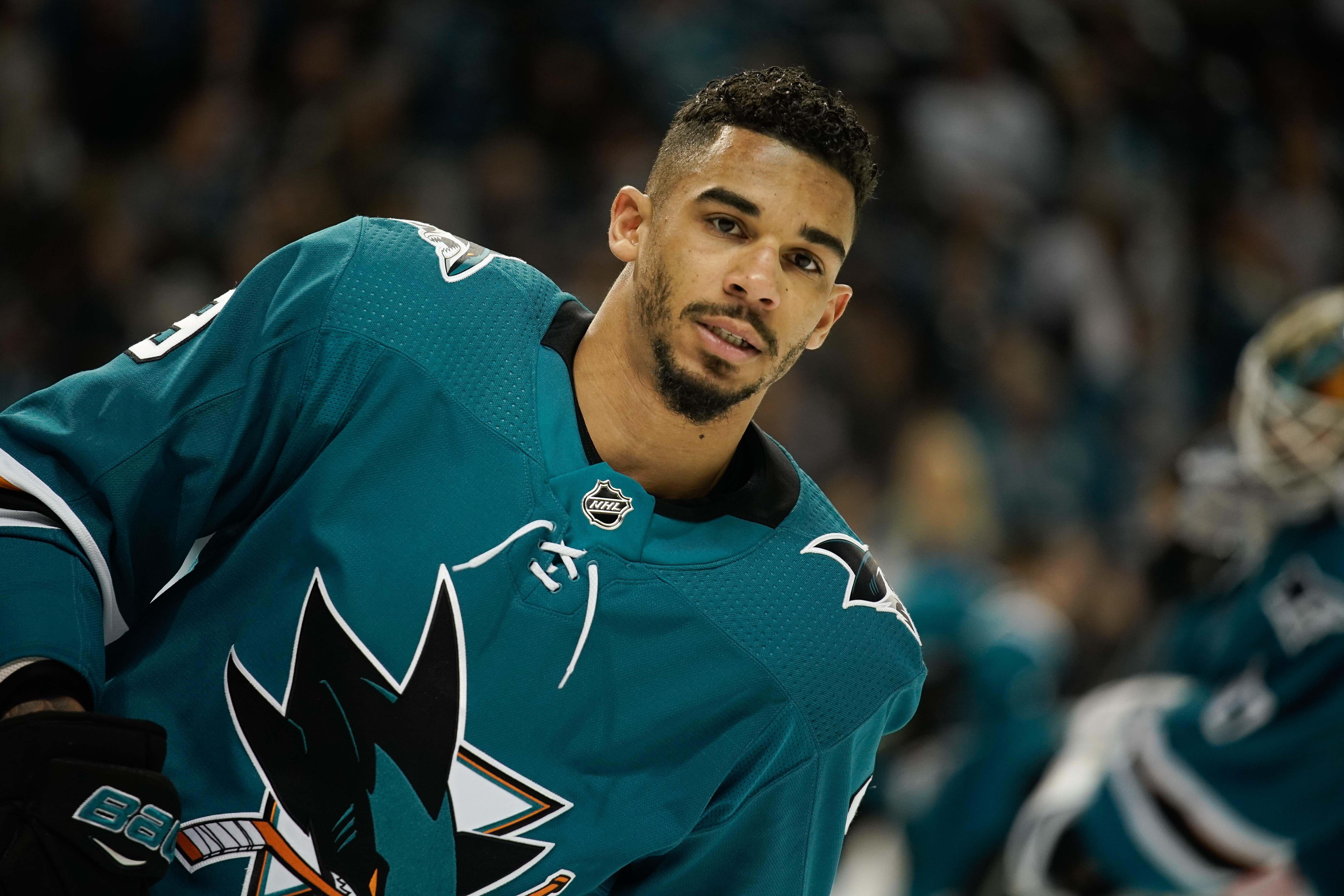 May 6, 2018; San Jose, CA, USA; San Jose Sharks left wing Evander Kane (9) warms up before the game against the Vegas Golden Knights in game six of the second round of the 2018 Stanley Cup Playoffs at SAP Center at San Jose.