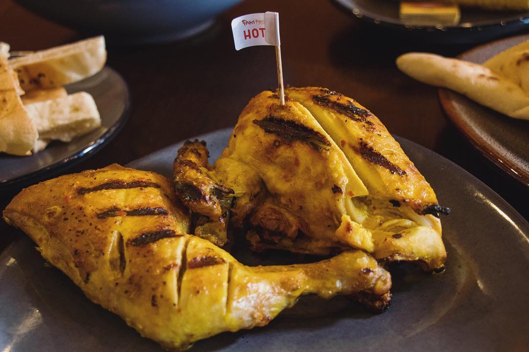 Portuguese-style rotisserie chicken from Peri Peri Factory in Houston