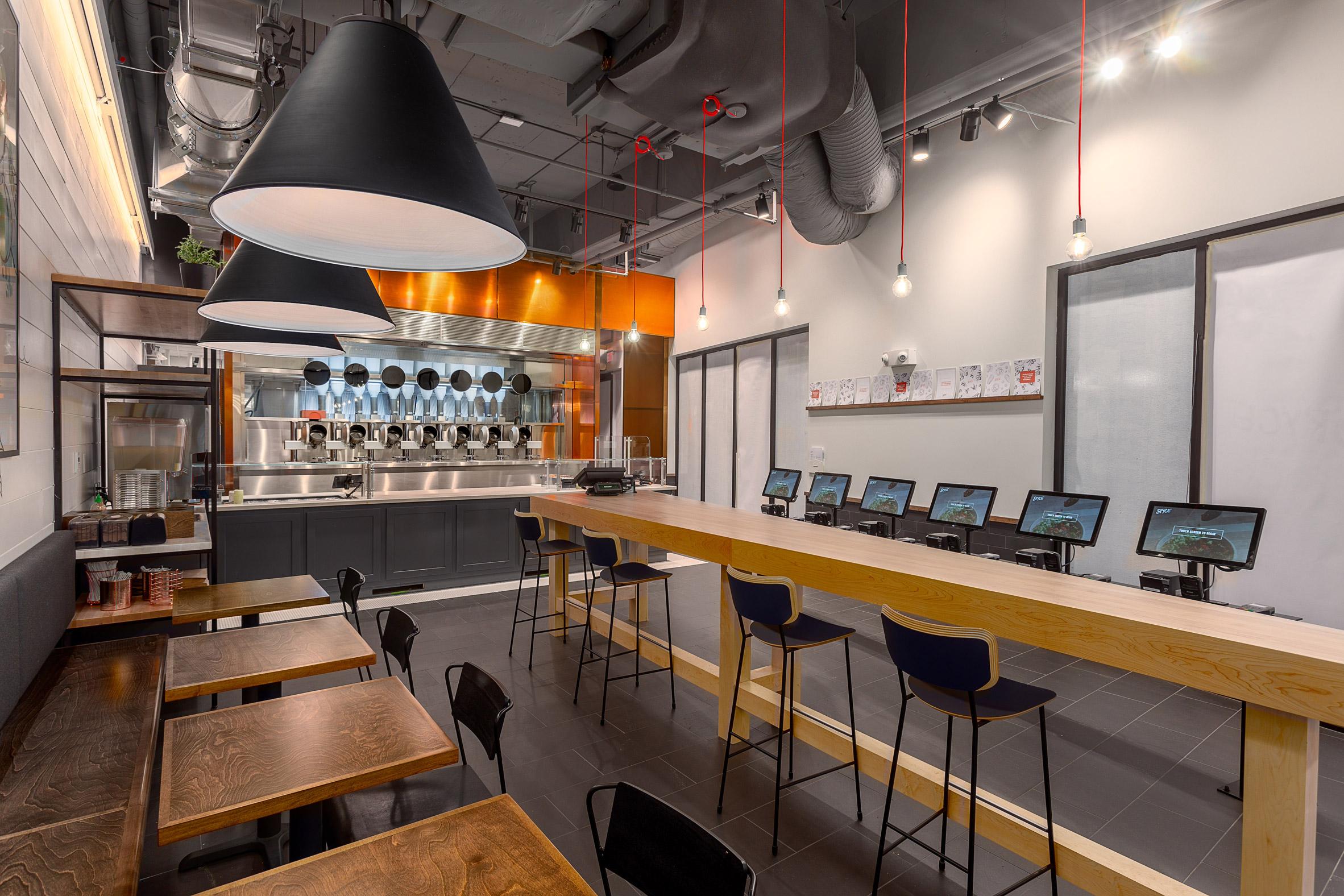 Interior shot of robotic restaurant