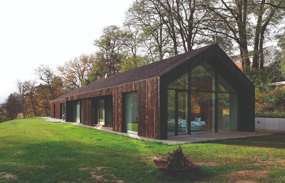 Charred wood covers airy modern home