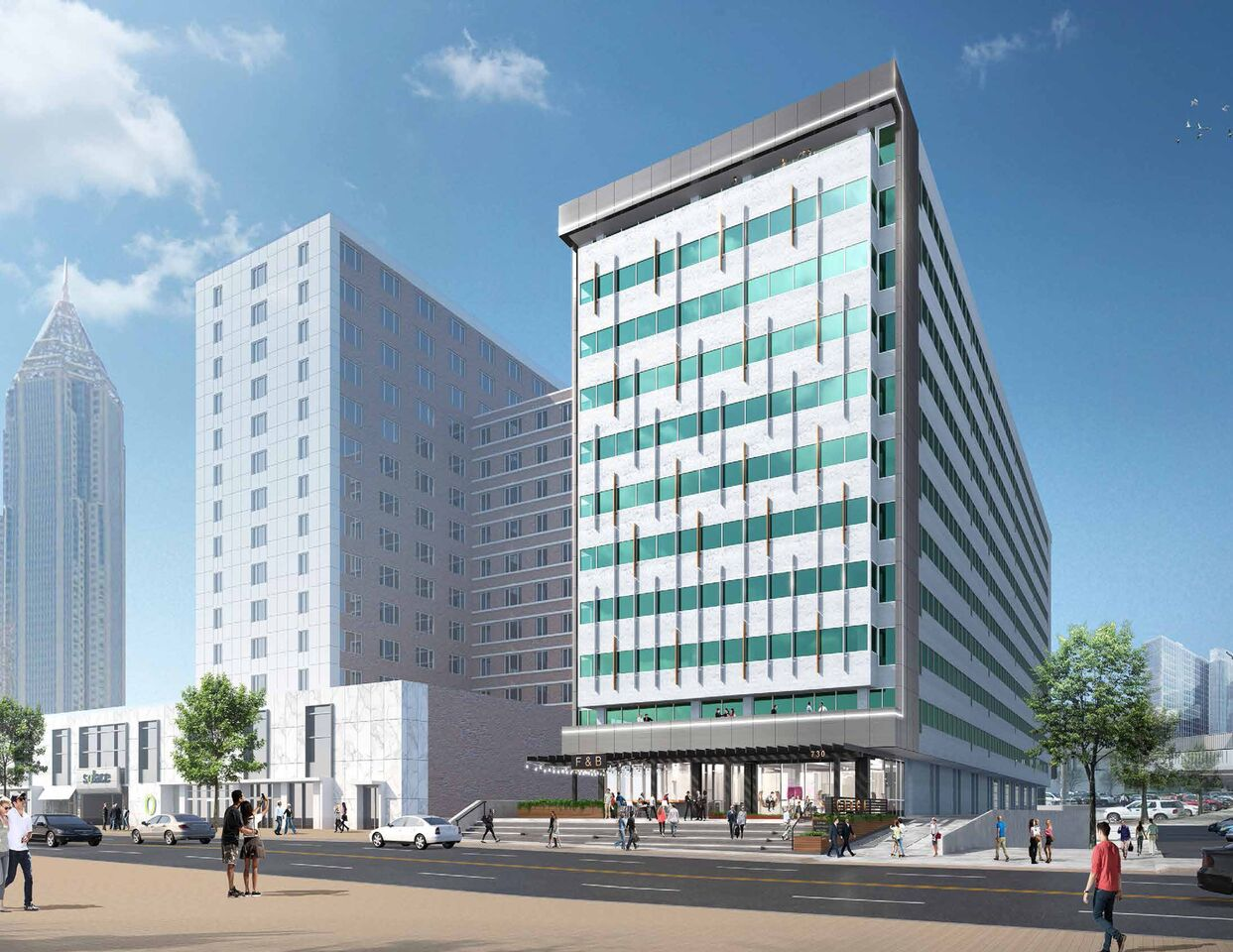 A rendering of the reimagined facade at Peachtree.