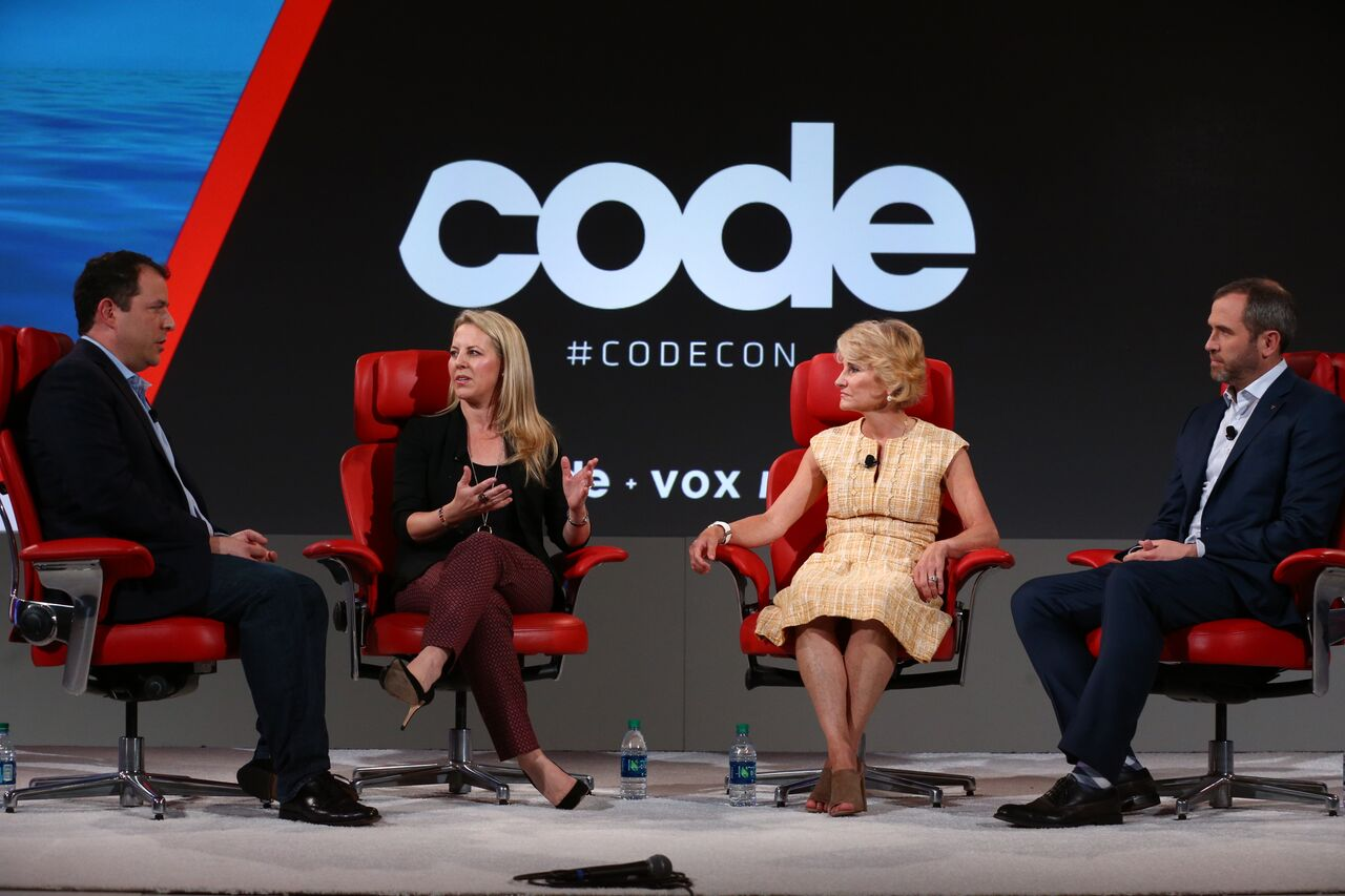 left to right: Kathryn Haun, Board of Directors, Coinbase, HackerOne; Bridget van Kralingen, SVP, IBM Global Industries, Platforms and Blockchain; Brad Garlinghouse, CEO, Ripple