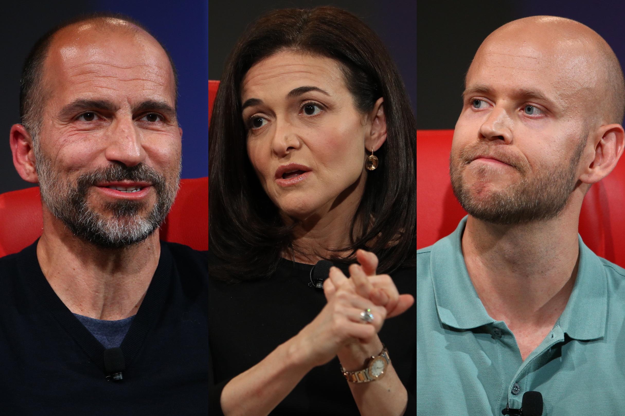 Uber CEO Dara Khosrowshahi, Facebook COO Sheryl Sandberg and Spotify CEO Daniel Ek at the 2018 Code Conference