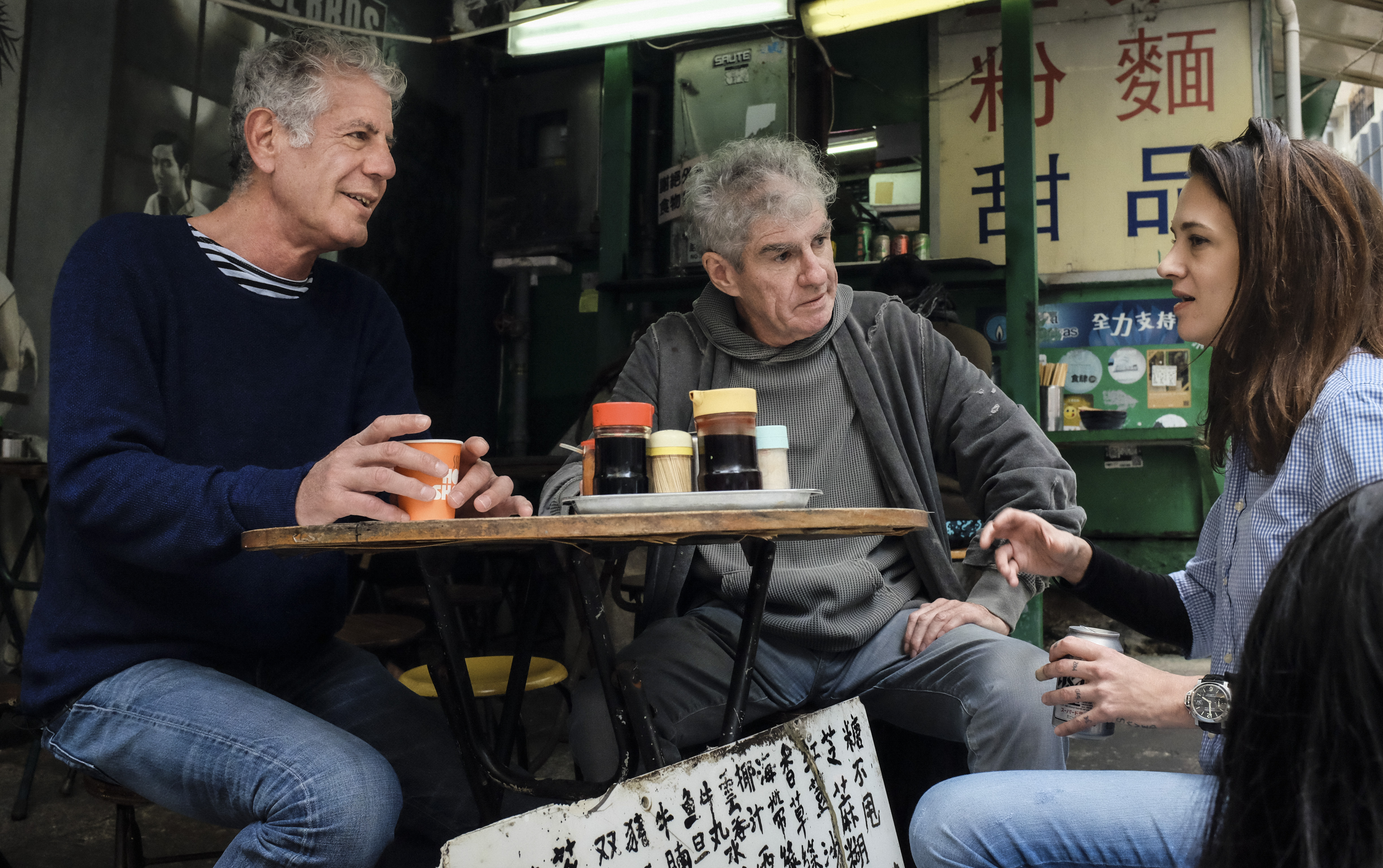 Tony, Christopher Doyle, and director Asia Argento at Leaf Dessert Noodle shop in Parts Unknown: Hong Kong