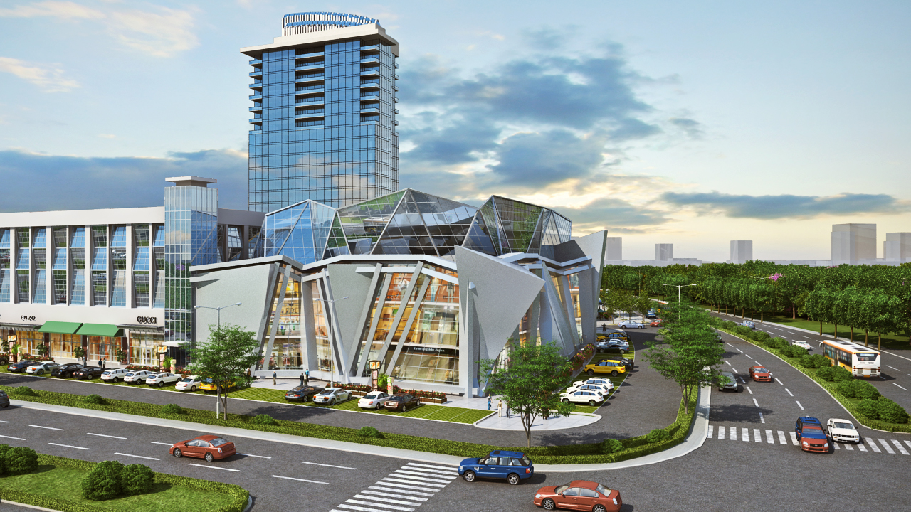 An early rendering of the mixed-use development near the Mall of Georgia