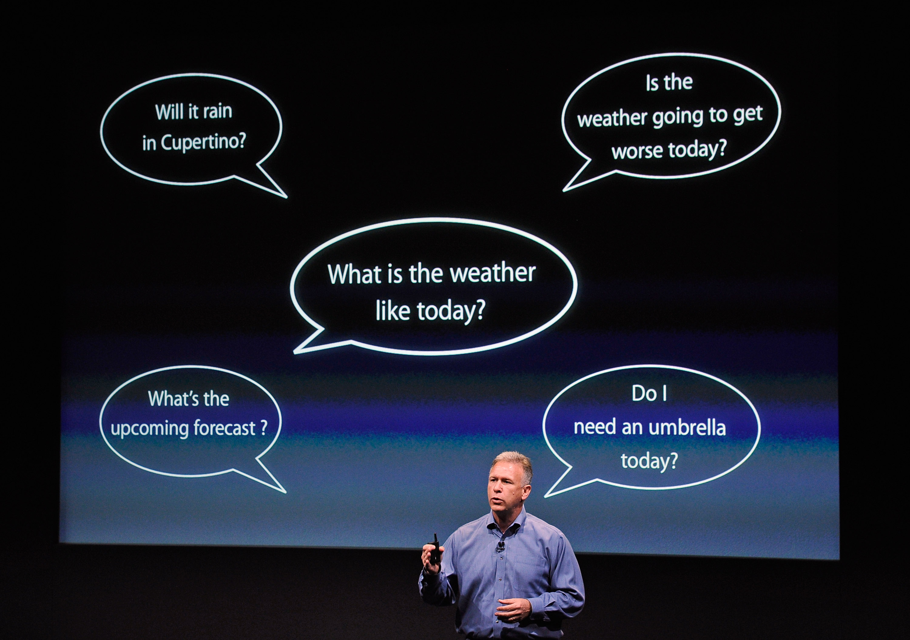 Phil Schiller, Apple's senior vice president of worldwide product marketing, onstage in front of a screen depicting word bubbles.