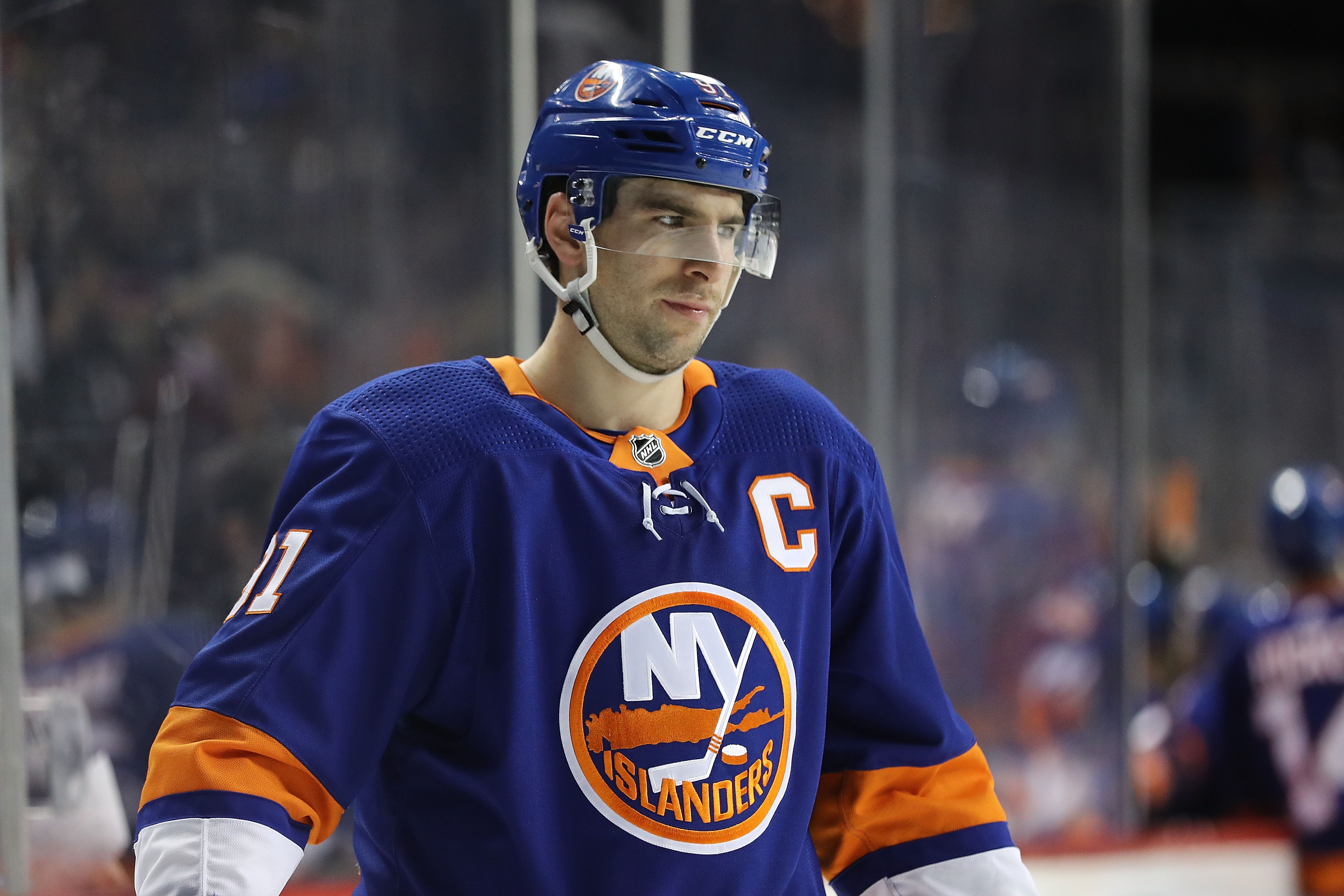 NEW YORK, NY - MARCH 26: John Tavares #91 of the New York Islanders reacts in the third period against the Florida Panthers during their game at Barclays Center on March 26, 2018 in the Brooklyn borough of New York City.
