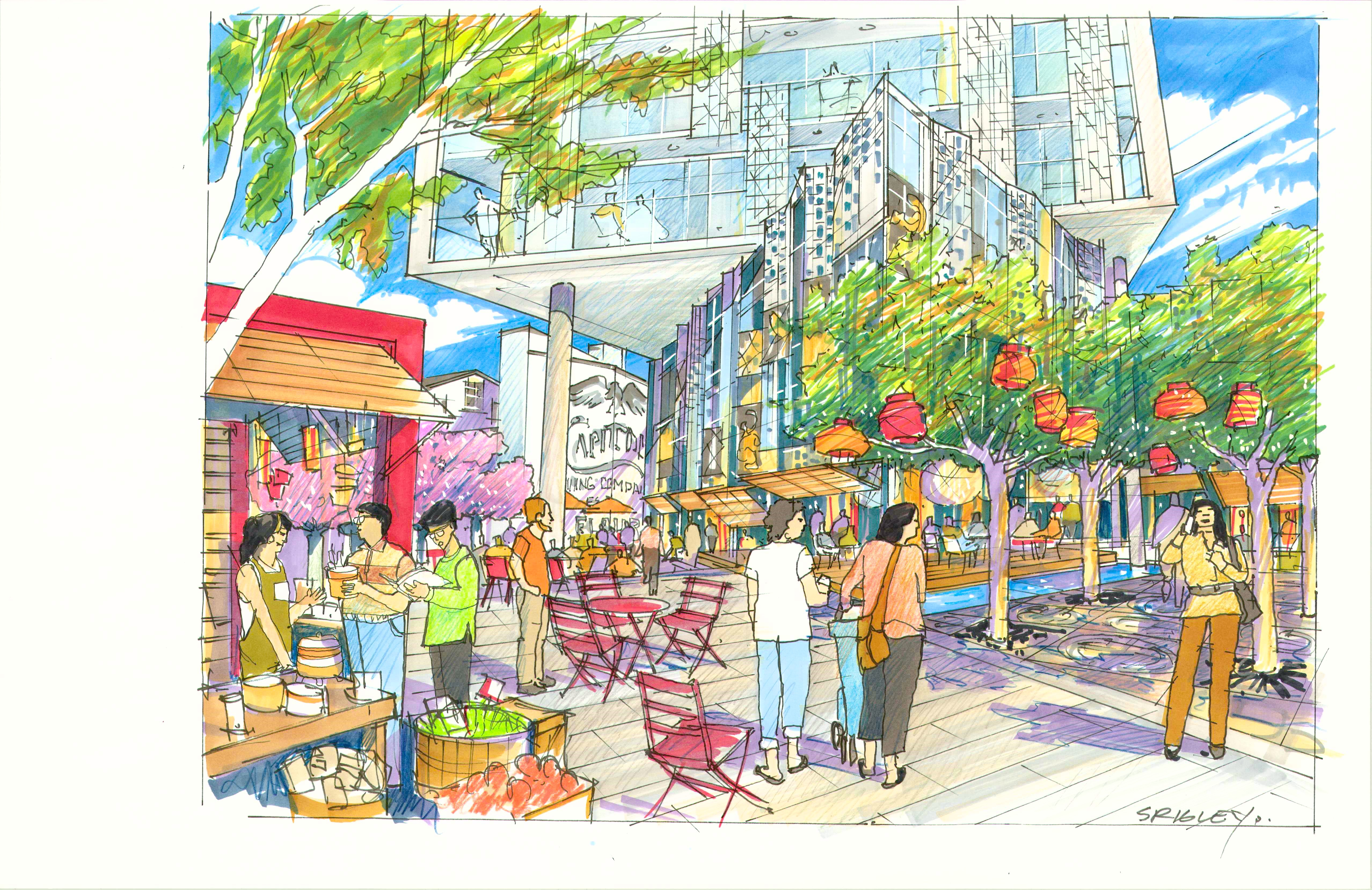 A painting-like rendering of the ground floor of the project that shows pedestrians walking, street trees, and, in the background, the bottom of the new development.
