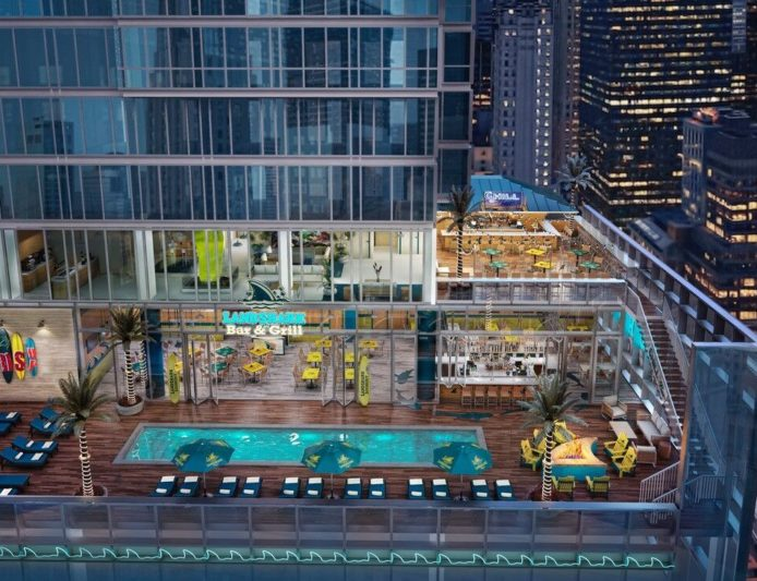 A rendering for a planned 29-story Margaritaville resort hotel recently unveiled for New York City near Times Square. Atlanta's incarnation would be a few floors shorter.