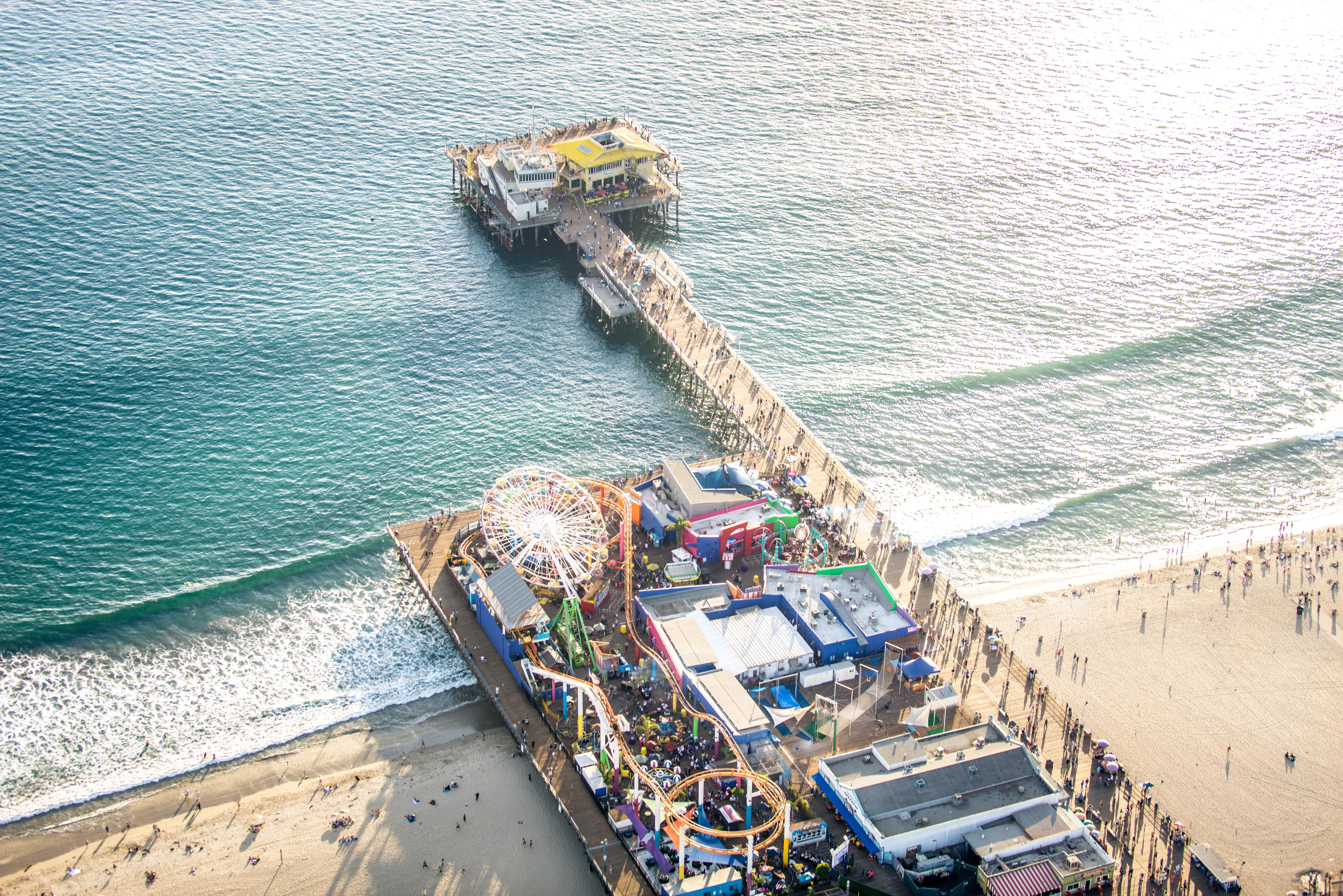 Aerial shot of Santa Monica Pier
