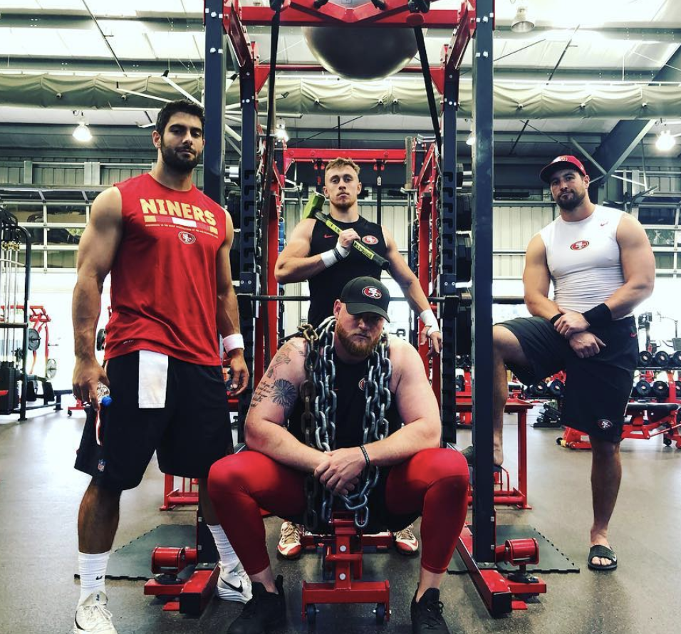 Jimmy Garoppolo, George Kittle, Garrett Celek, JP Flynn at 49ers workout facility