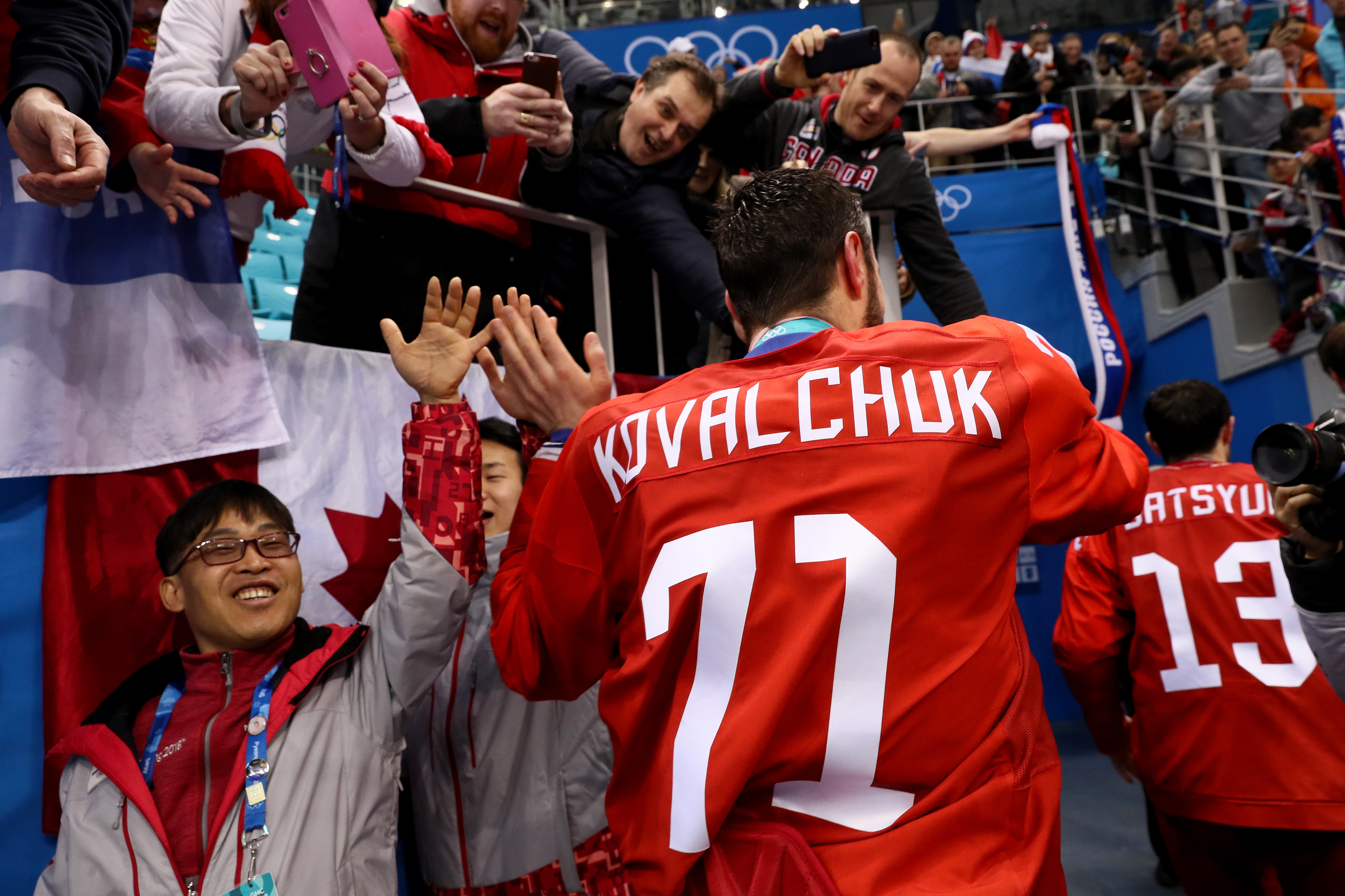 GANGNEUNG, SOUTH KOREA - FEBRUARY 25: Gold medal winner Ilya Kovalchuk #71 of Olympic Athlete from Russia celebrates after defeating Germany 4-3 in overtime during the Men's Gold Medal Game on day sixteen of the PyeongChang 2018 Winter Olympic Games at Ga