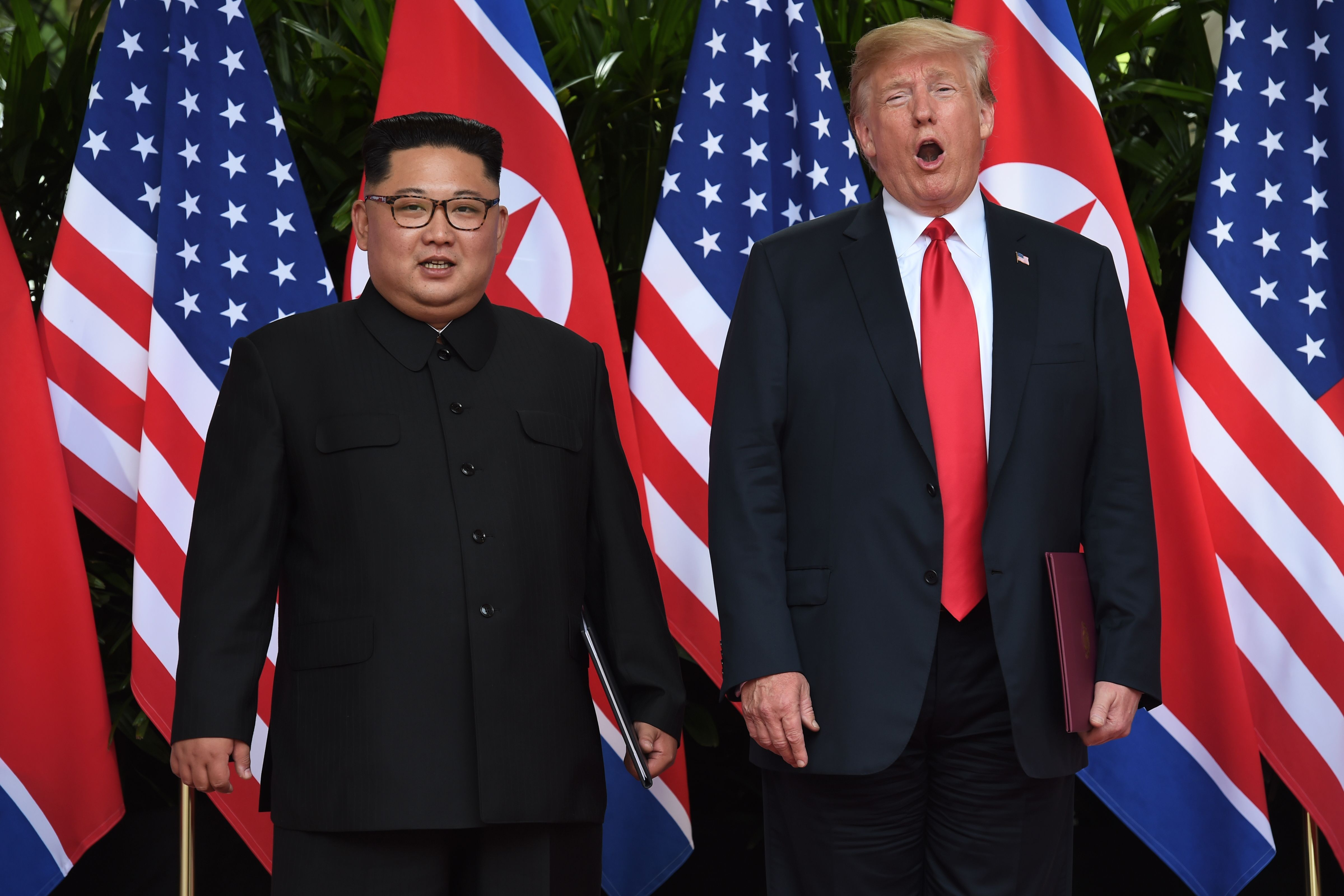 The two leaders stand side by side in front of a row of alternating North Korean and American flags.