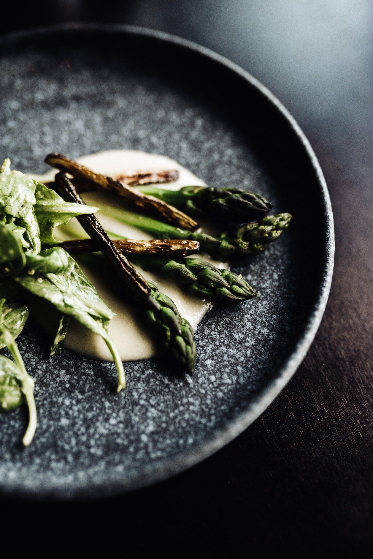 an asparagus dish at Beholder