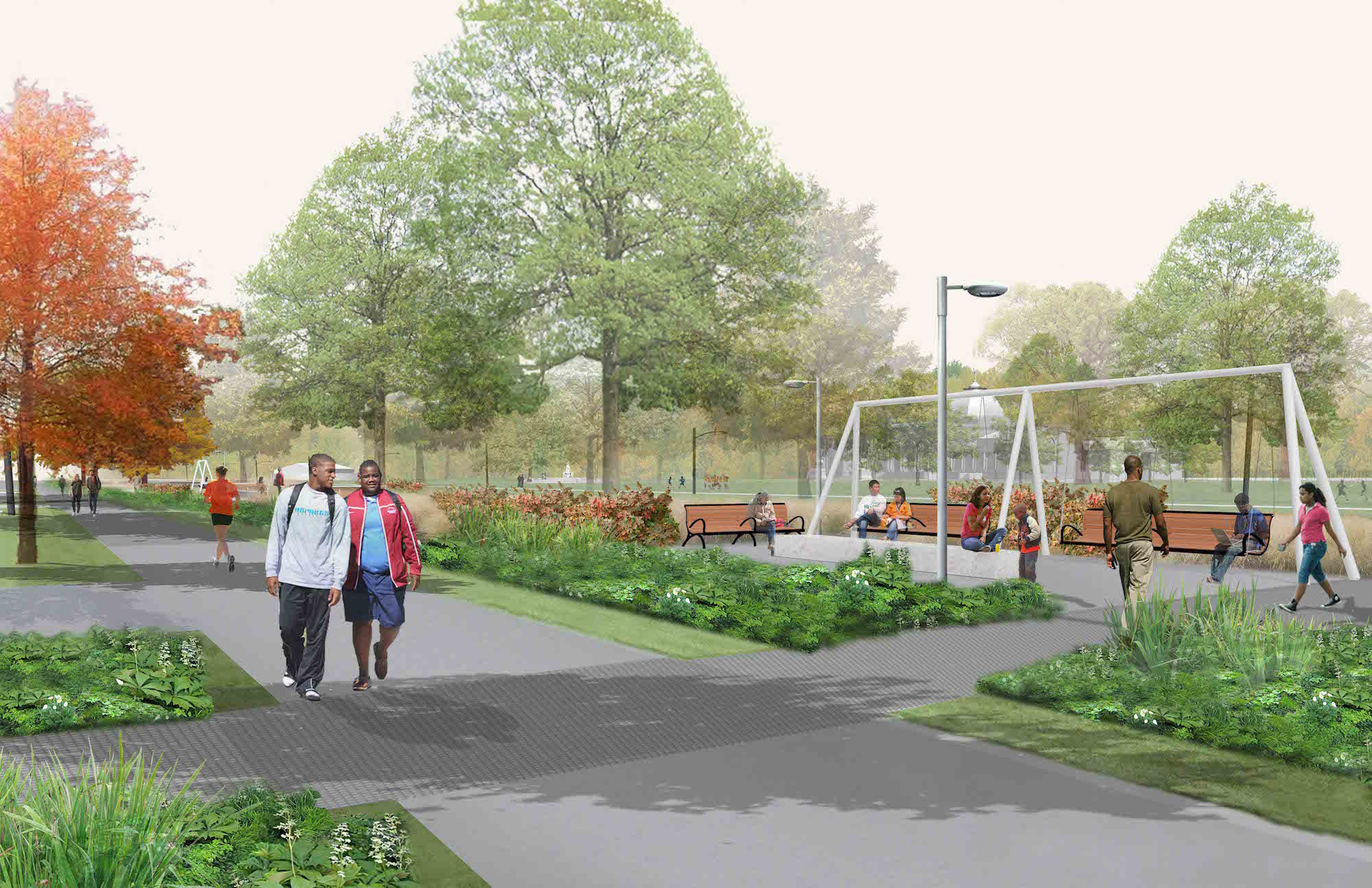 A rendering of Parkside Neighborhood Edge with swings, benches, and native plants.