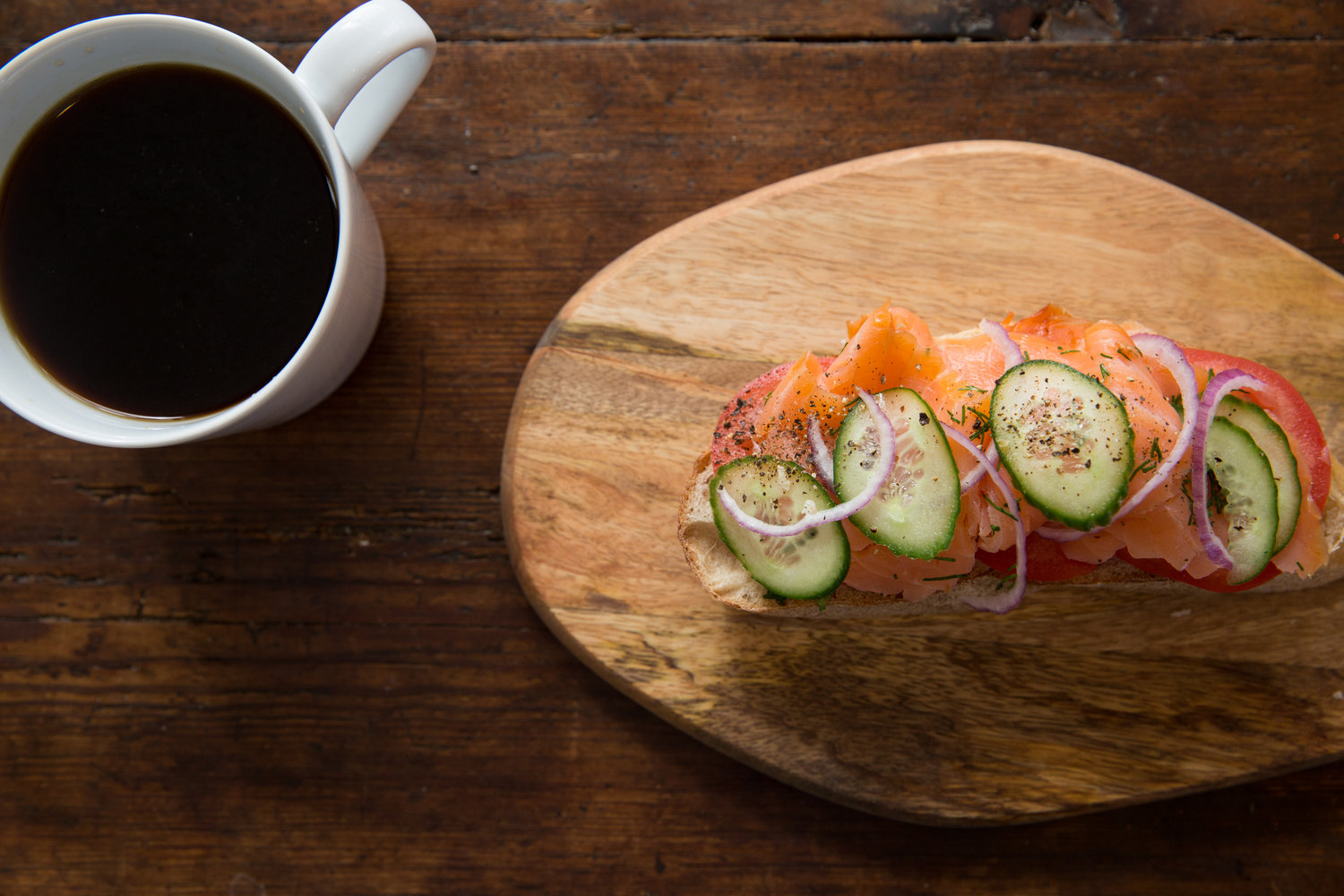 Salmon gravlax toast at Rooster Boy Cafe