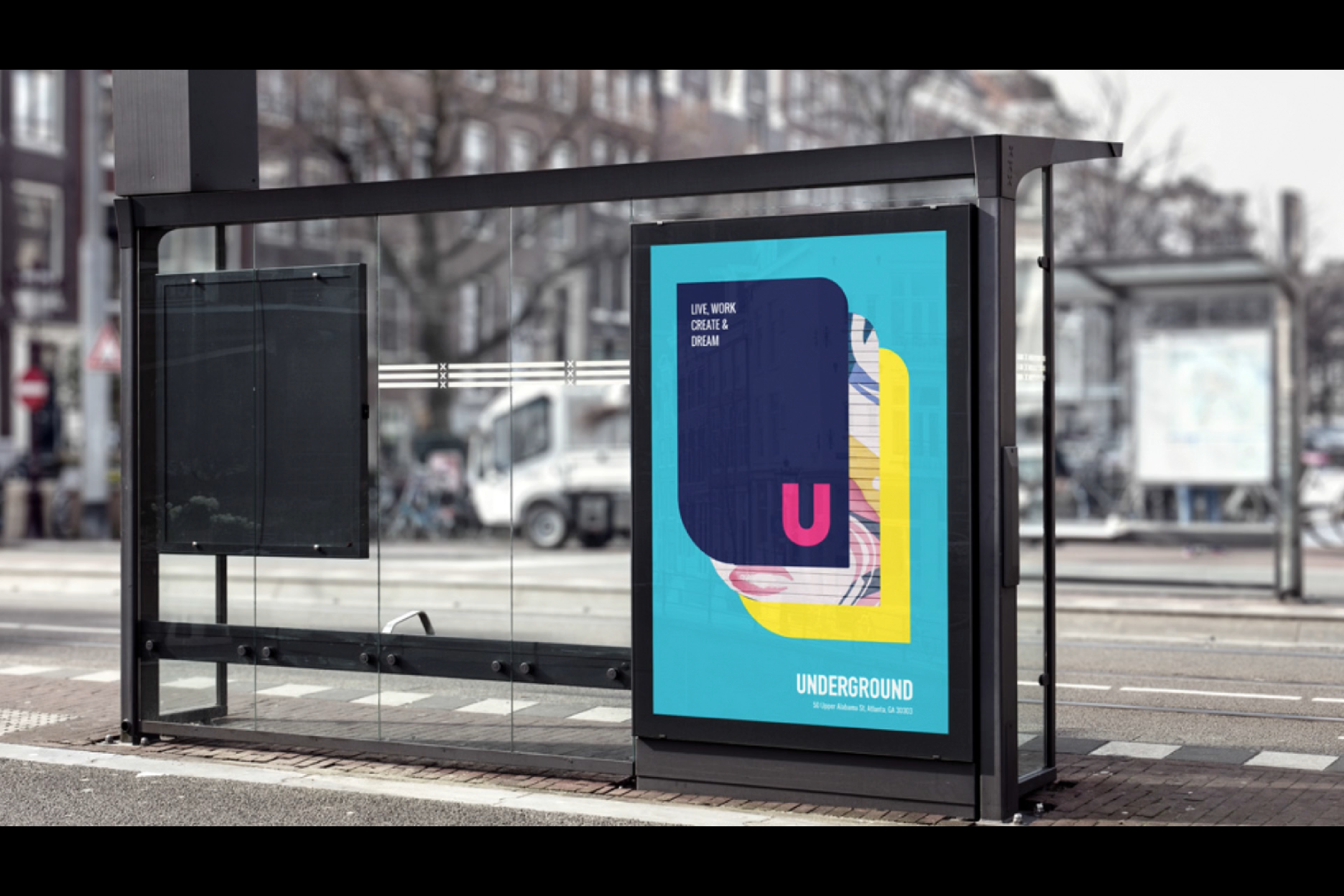 A photo of an Underground ad at a bus station