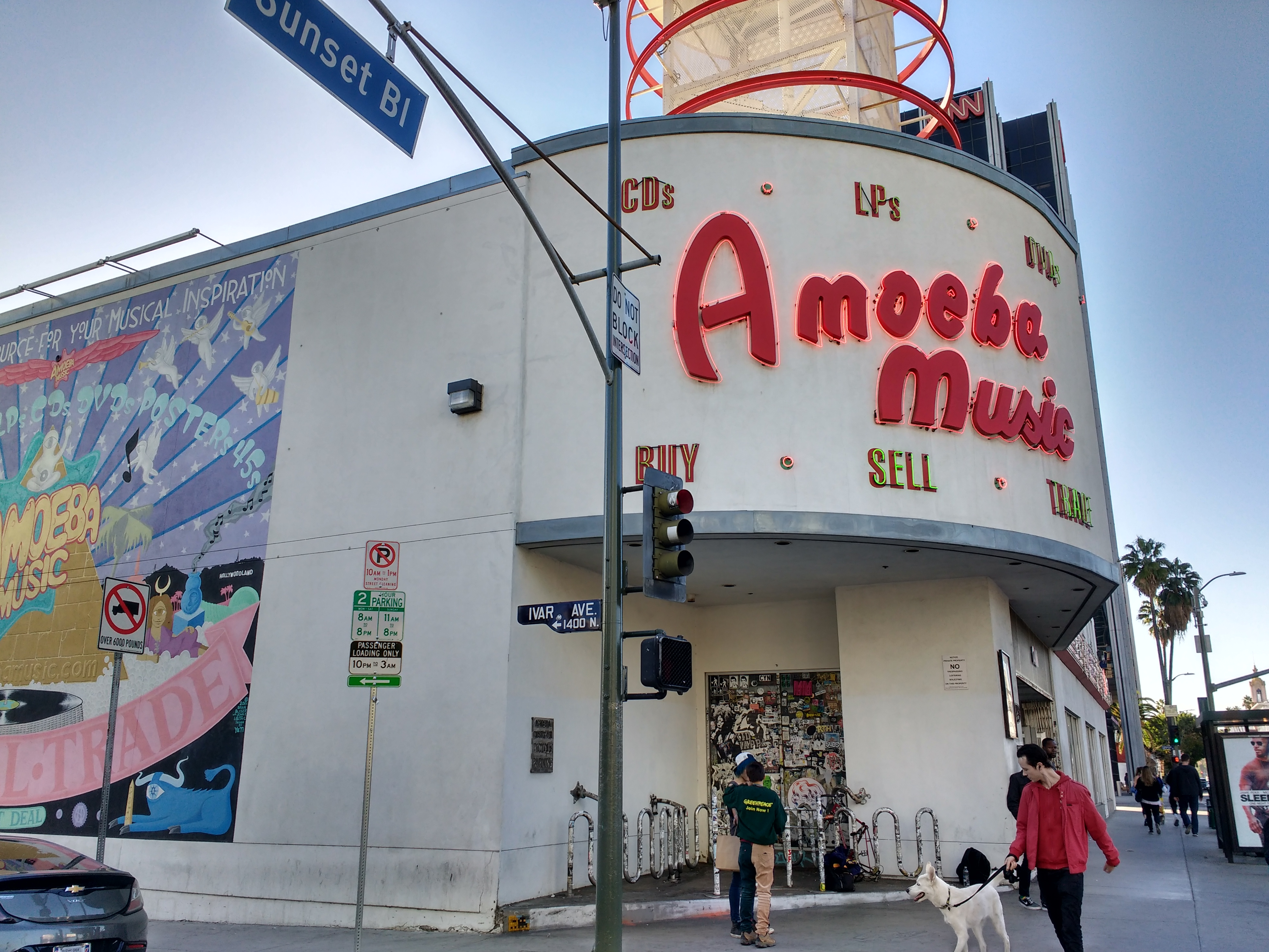 A photo of the exterior of the Ameoba Music building taken from Sunset Boulevard.