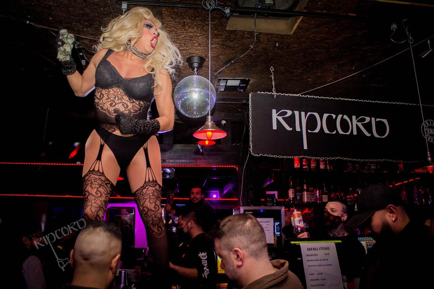 A drag queen performs at Houston bar Ripcord