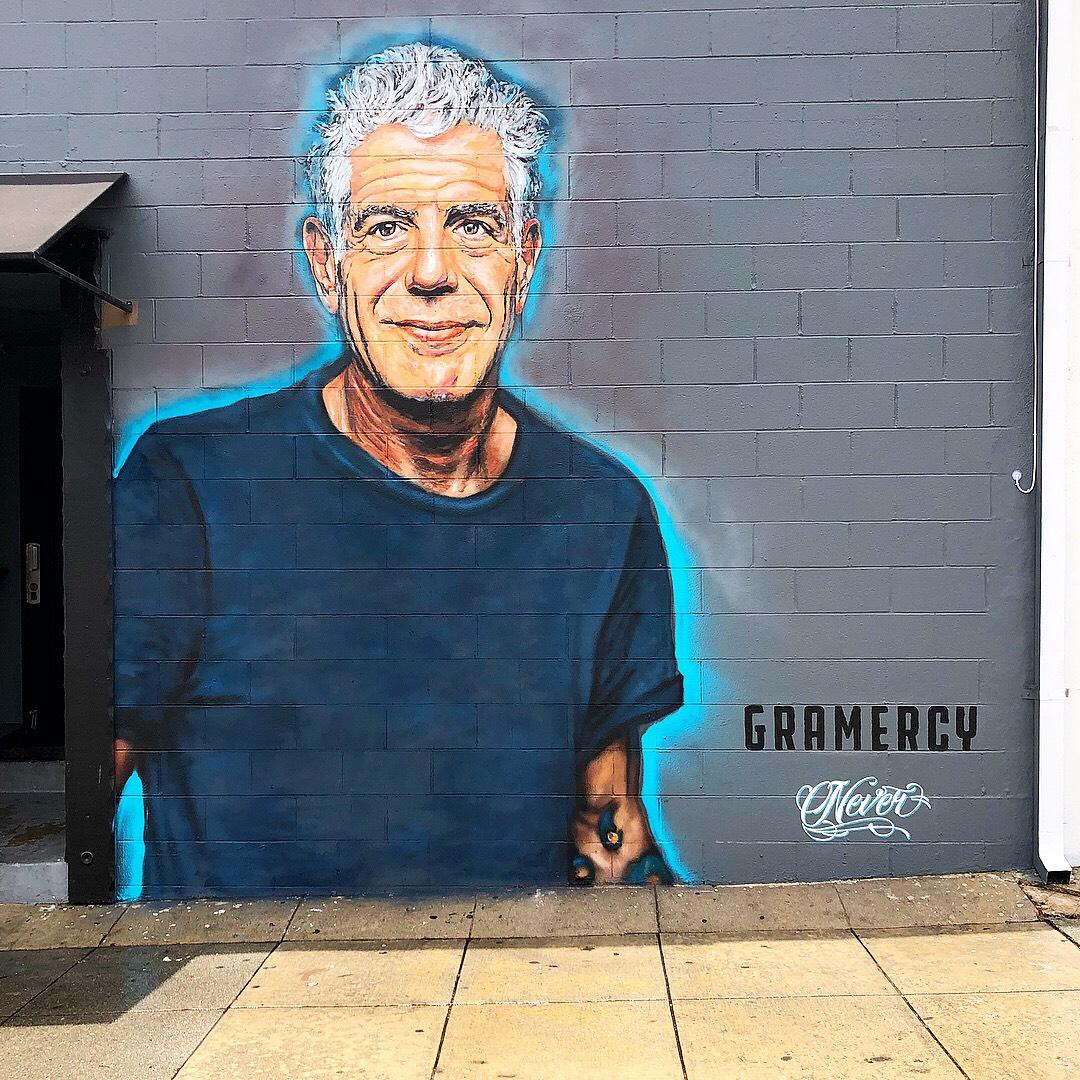 Anthony Bourdain mural by Jonas Never