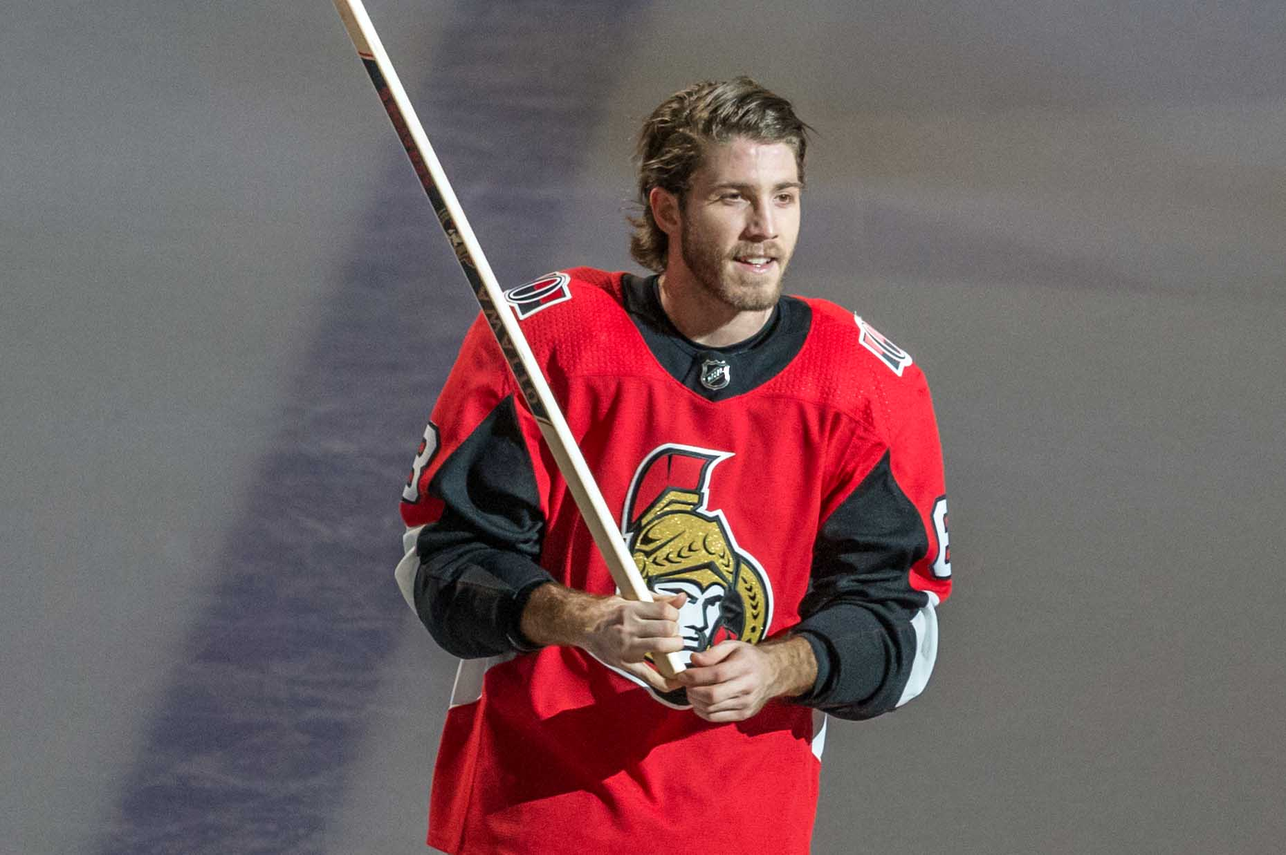 Mar 16, 2018; Ottawa, Ontario, CAN; The Ottawa Senators left wing Mike Hoffman (68) is name the first star following his overtime goal scored against the Dallas Stars at Canadian Tire Centre.