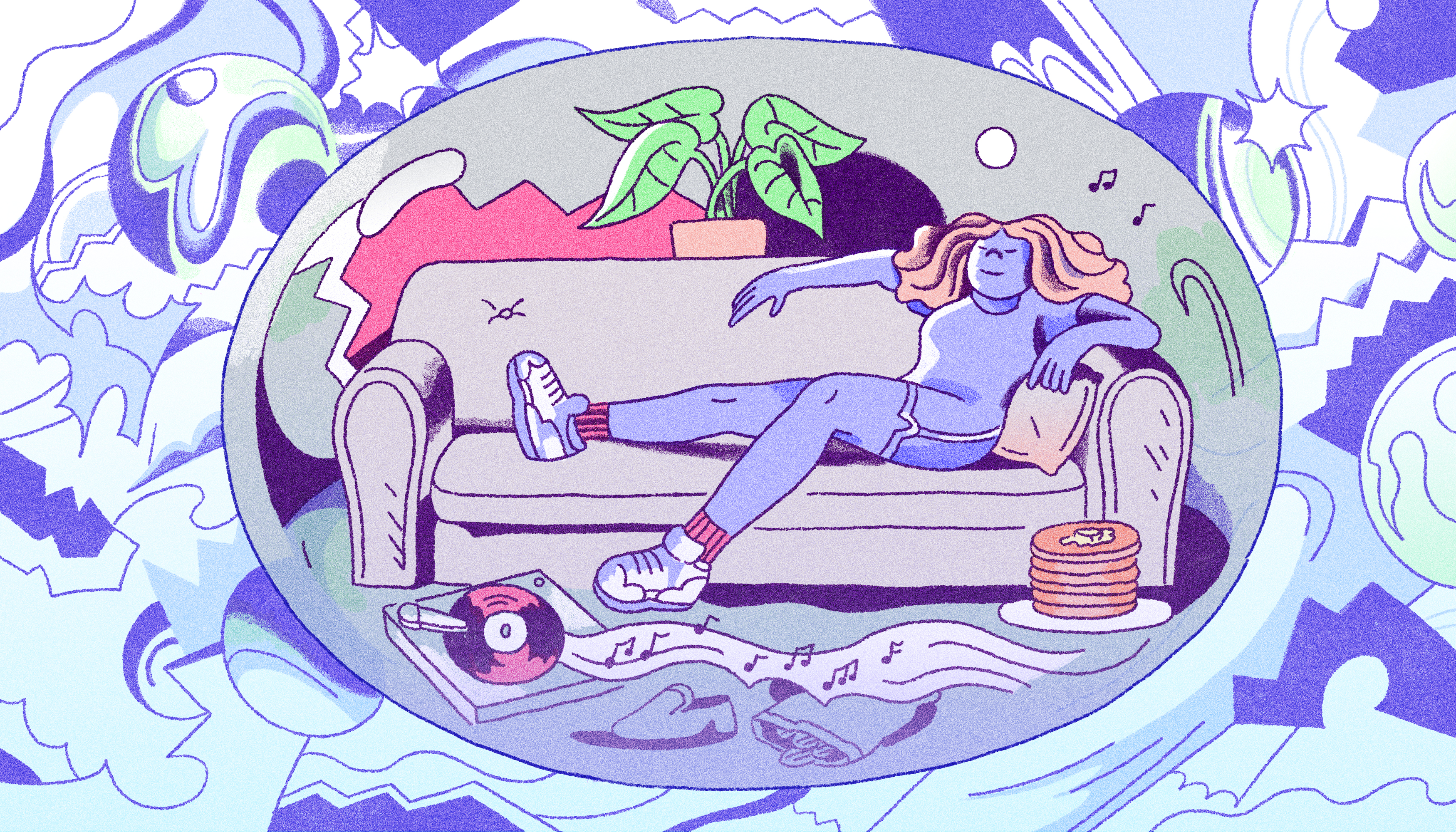 A figure lounges comfortably on a couch, floating in a bubble isolated from the outside world. Illustration.